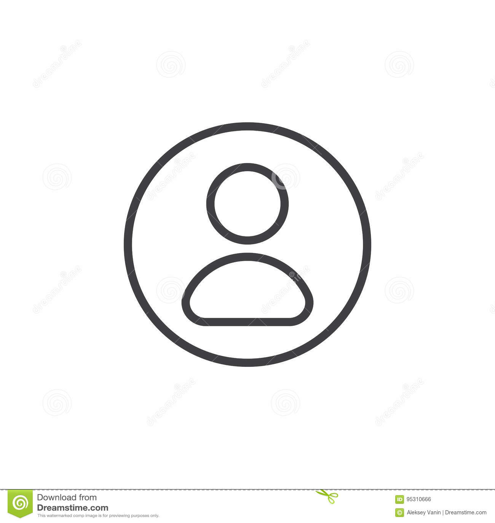 Usuário, linha circular ícone da conta Sinal simples redondo