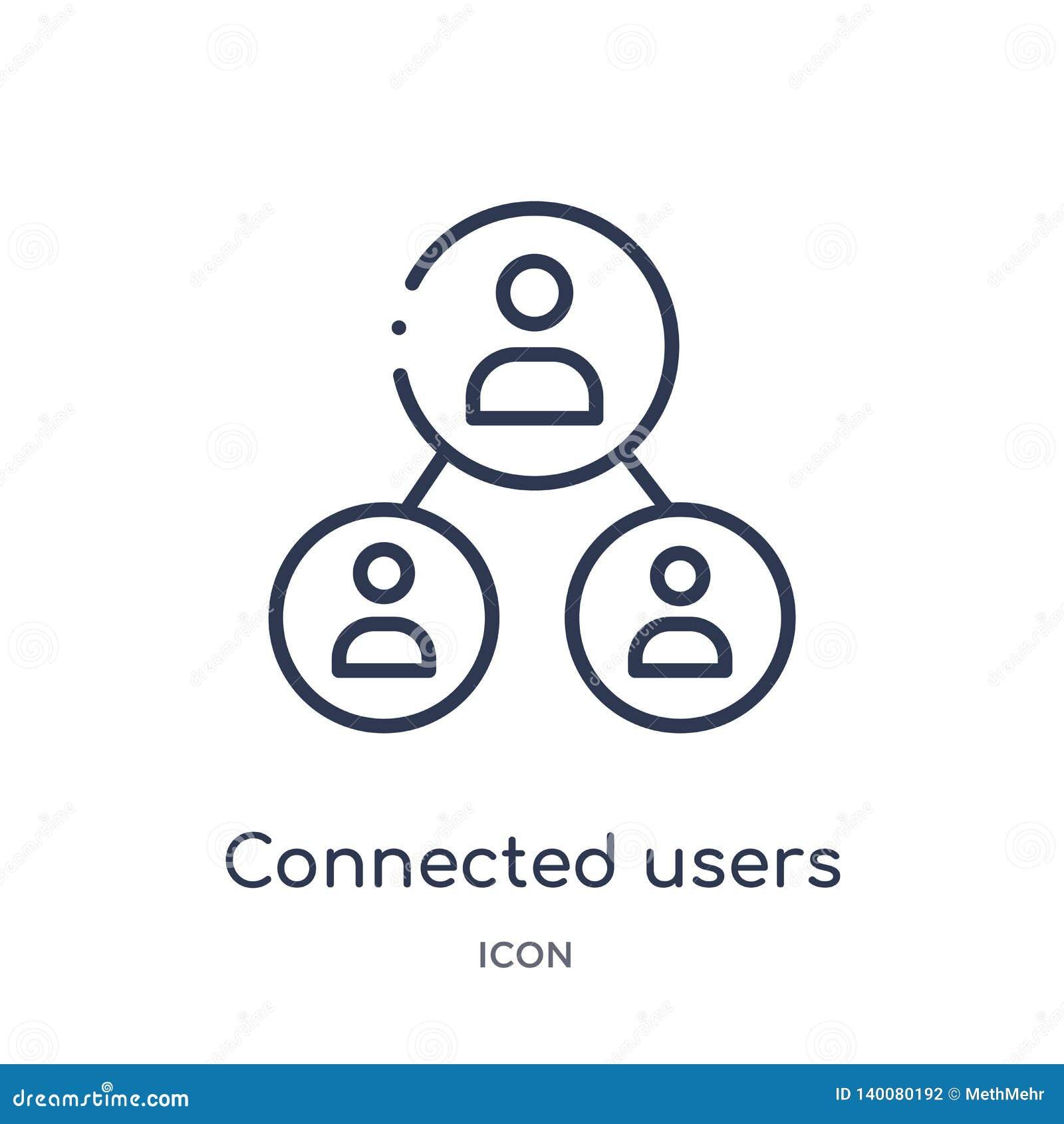 Usuários conectados no ícone do fluxograma da coleção do esboço da interface de usuário A linha fina conectou usuários no ícone d