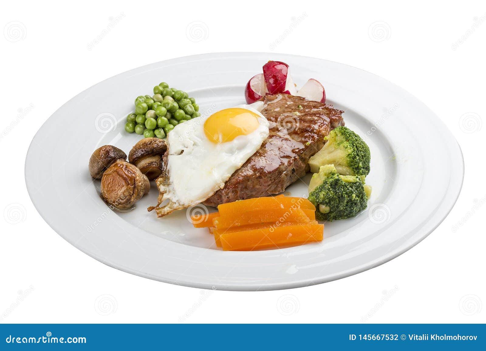 Usual breakfast. Steak, egg and vegetables.