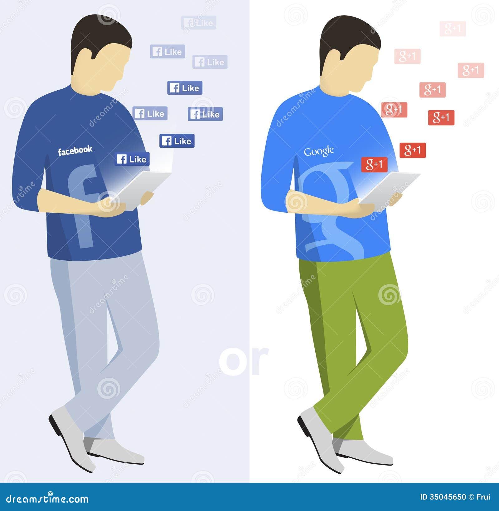 Usuarios de Facebook y de Google