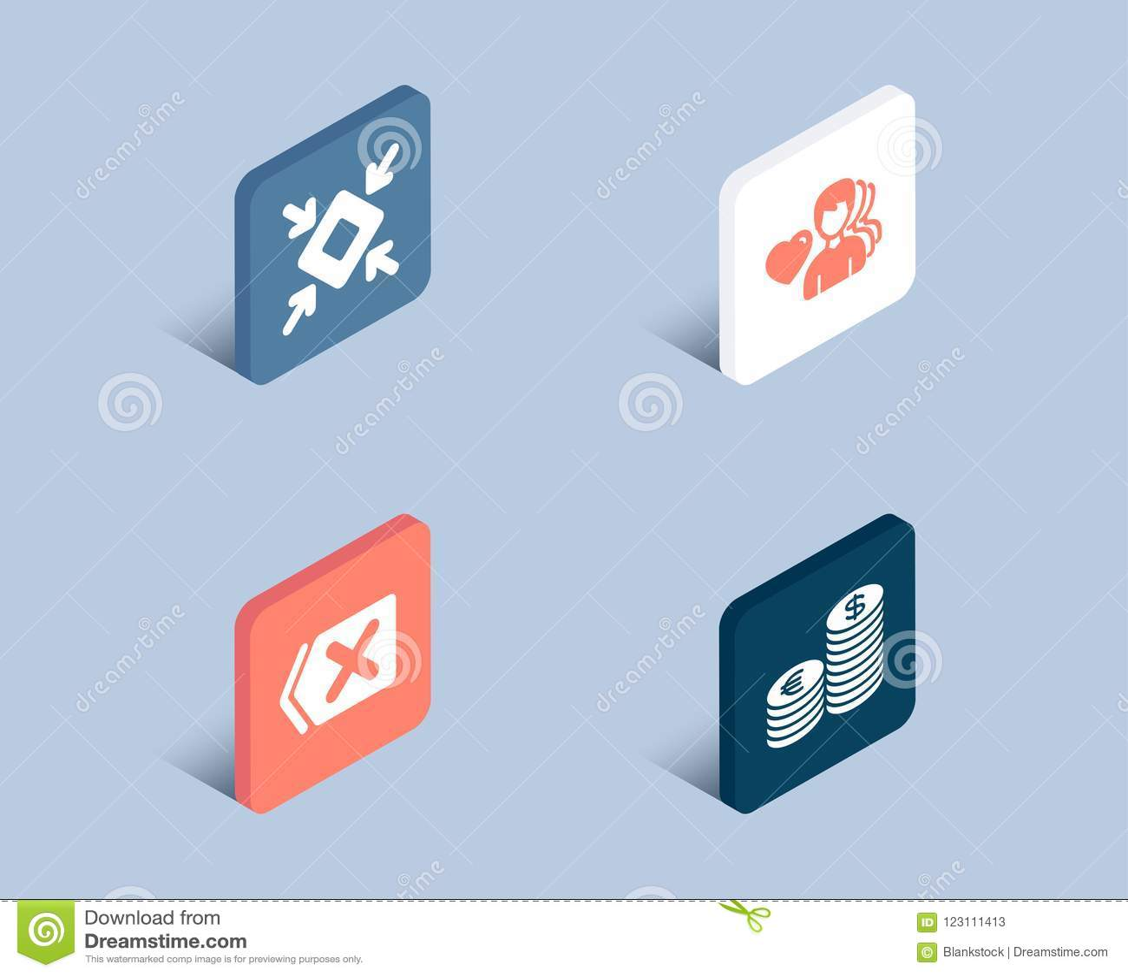 Usuwa, Bagatelizuje i Obsługuje, miłość ikony Waluta znak Deleatur guzik, mały ekran, Romantyczni ludzie Euro i usd