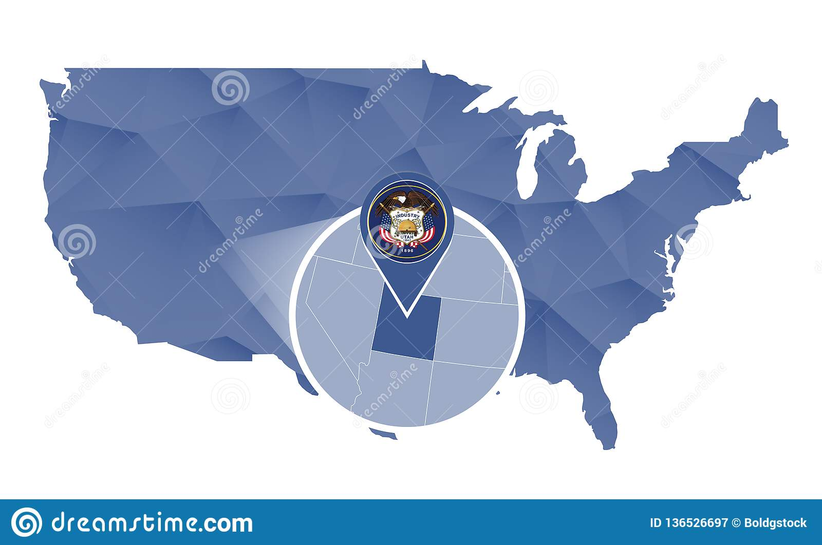 Utah State Magnified On United States Map Stock Vector ...