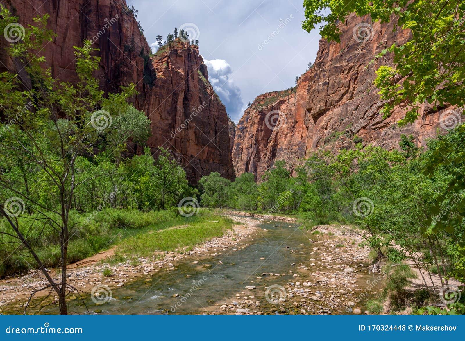 Scenic Drive Through Zion National Park, Utah, USA Stock