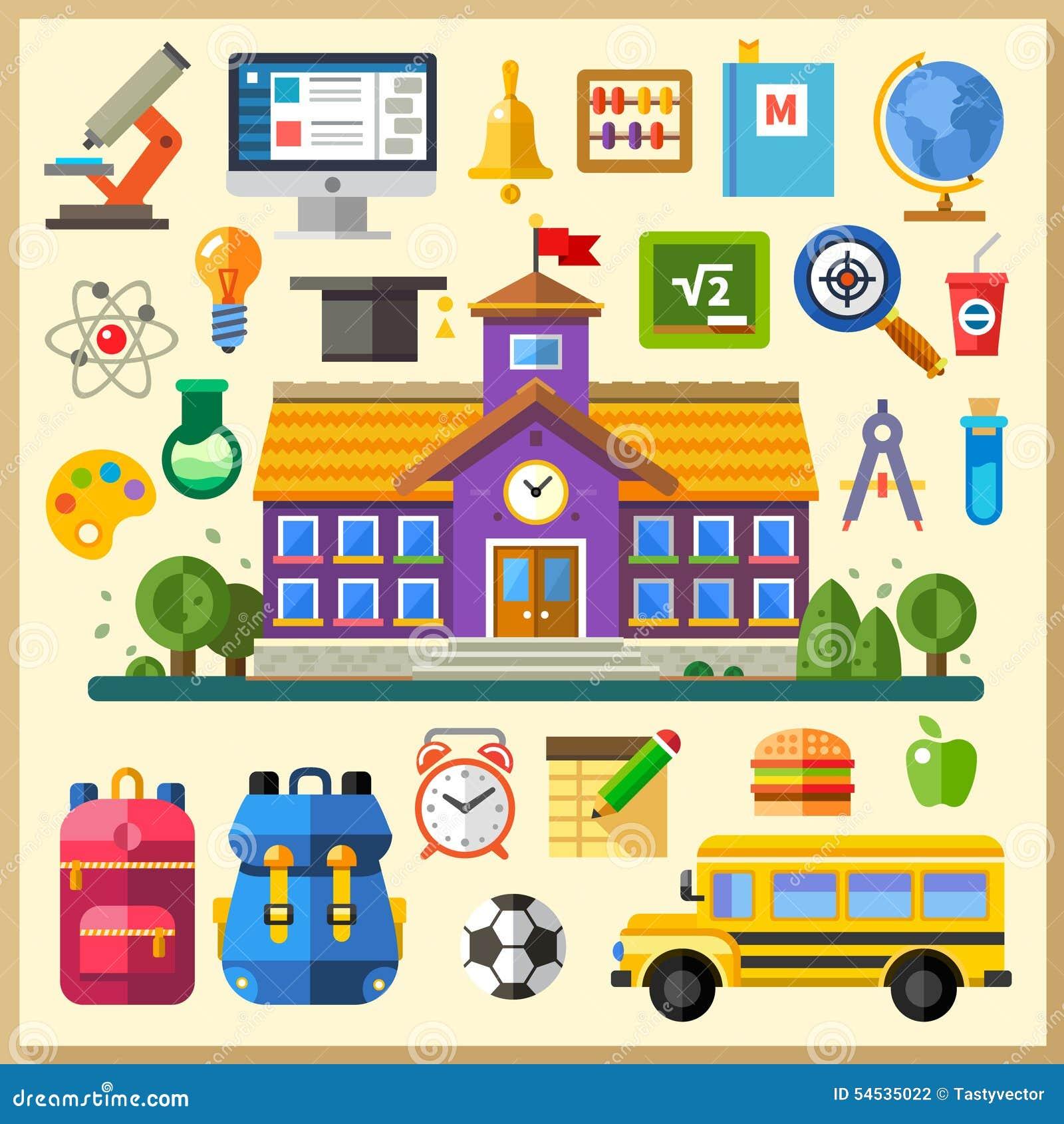 Utbildning skola universitetar Plana symbolsuppsättning och illustrationer för vektor