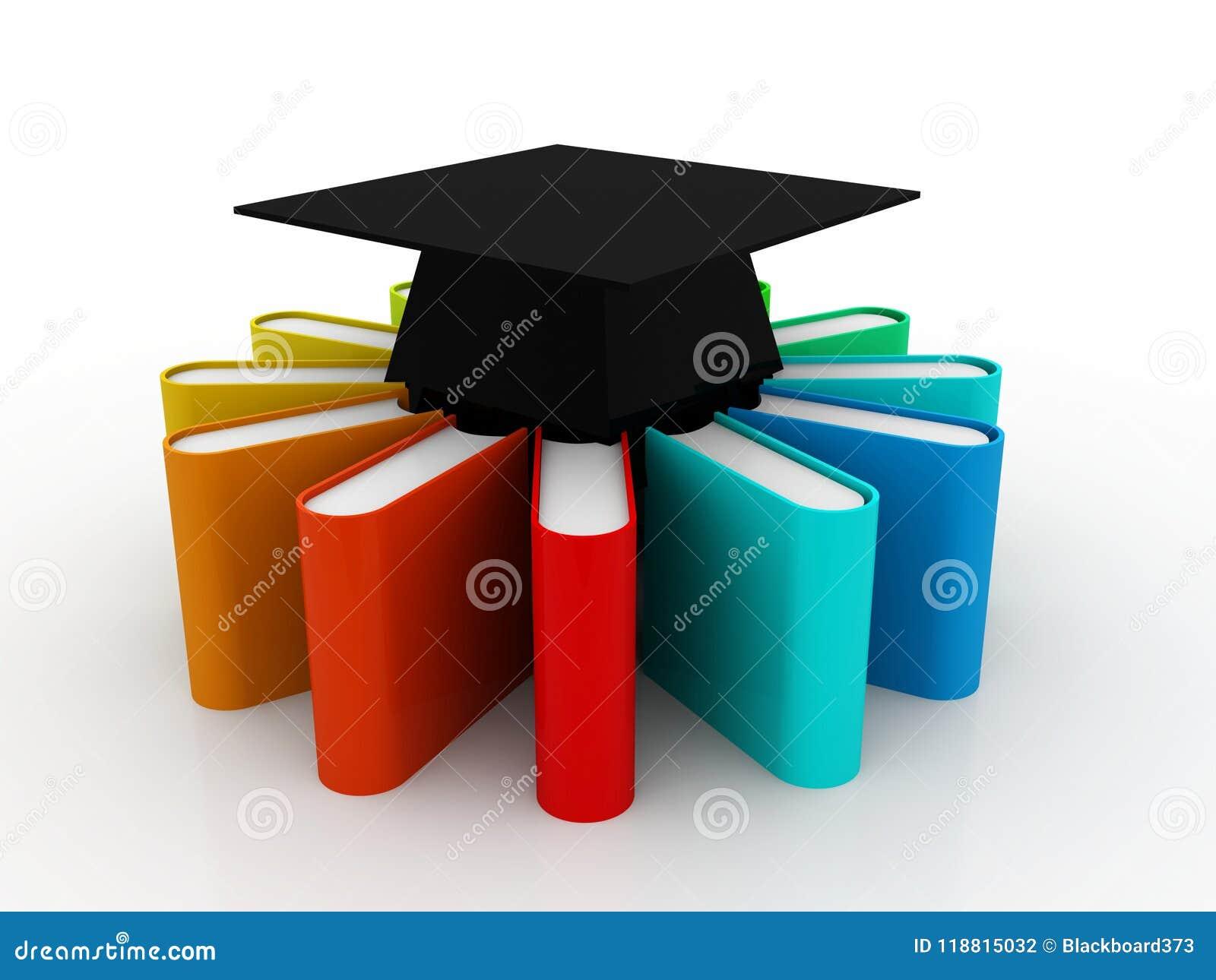 Utbildningsbegrepp, avläggande av examenlock och bunt av färgrika böcker på digital bakgrund 3d framför