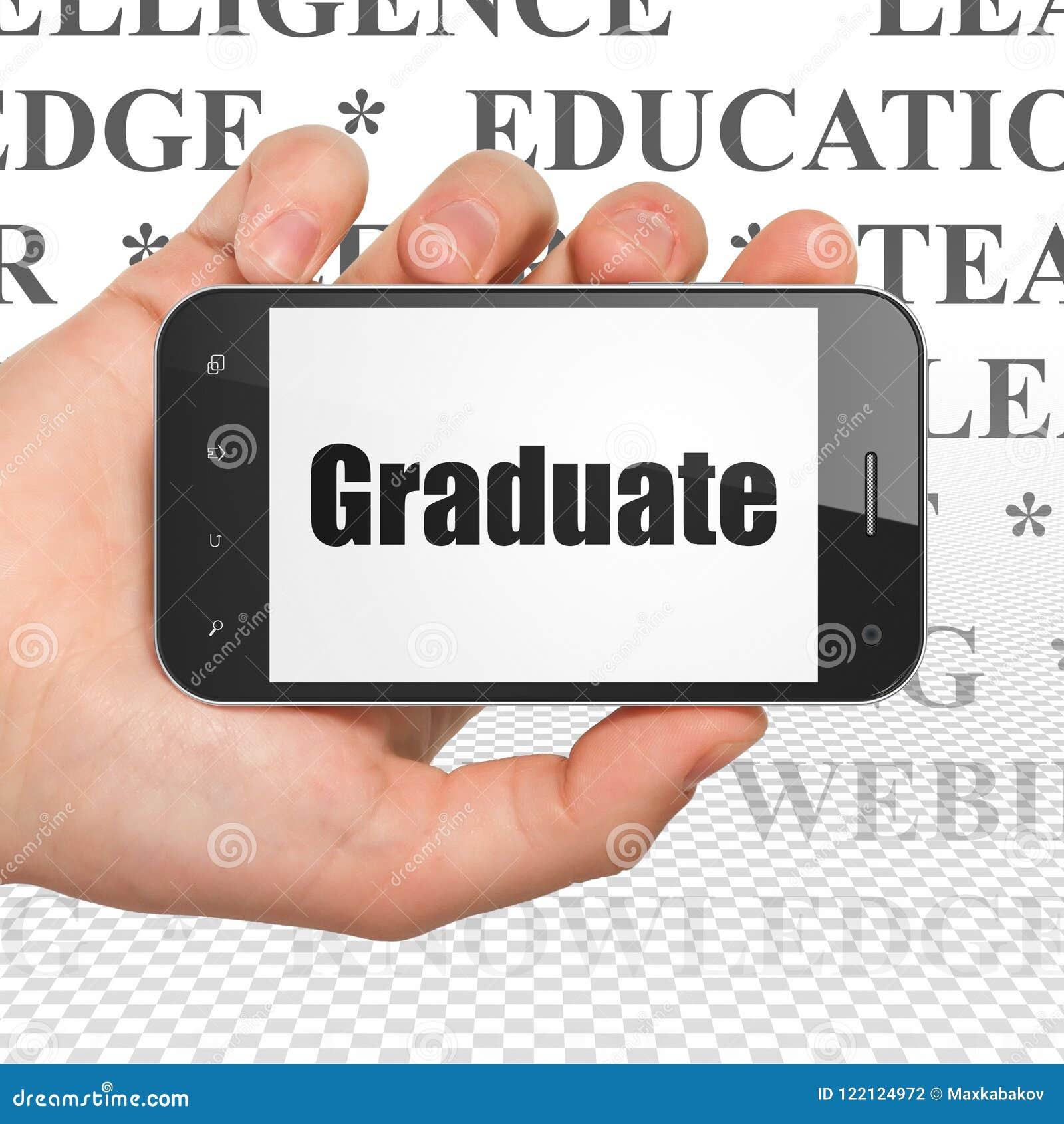 Utbildningsbegrepp: Hand som rymmer Smartphone med kandidaten på skärm