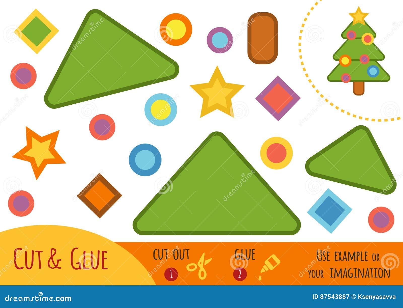 Utbildningspapperslek för barn, julgran