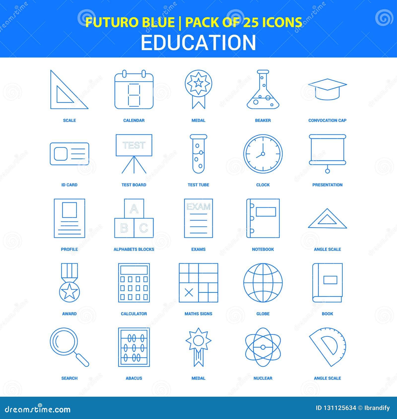 Utbildningssymboler - packe Futuro blå för 25 symbol