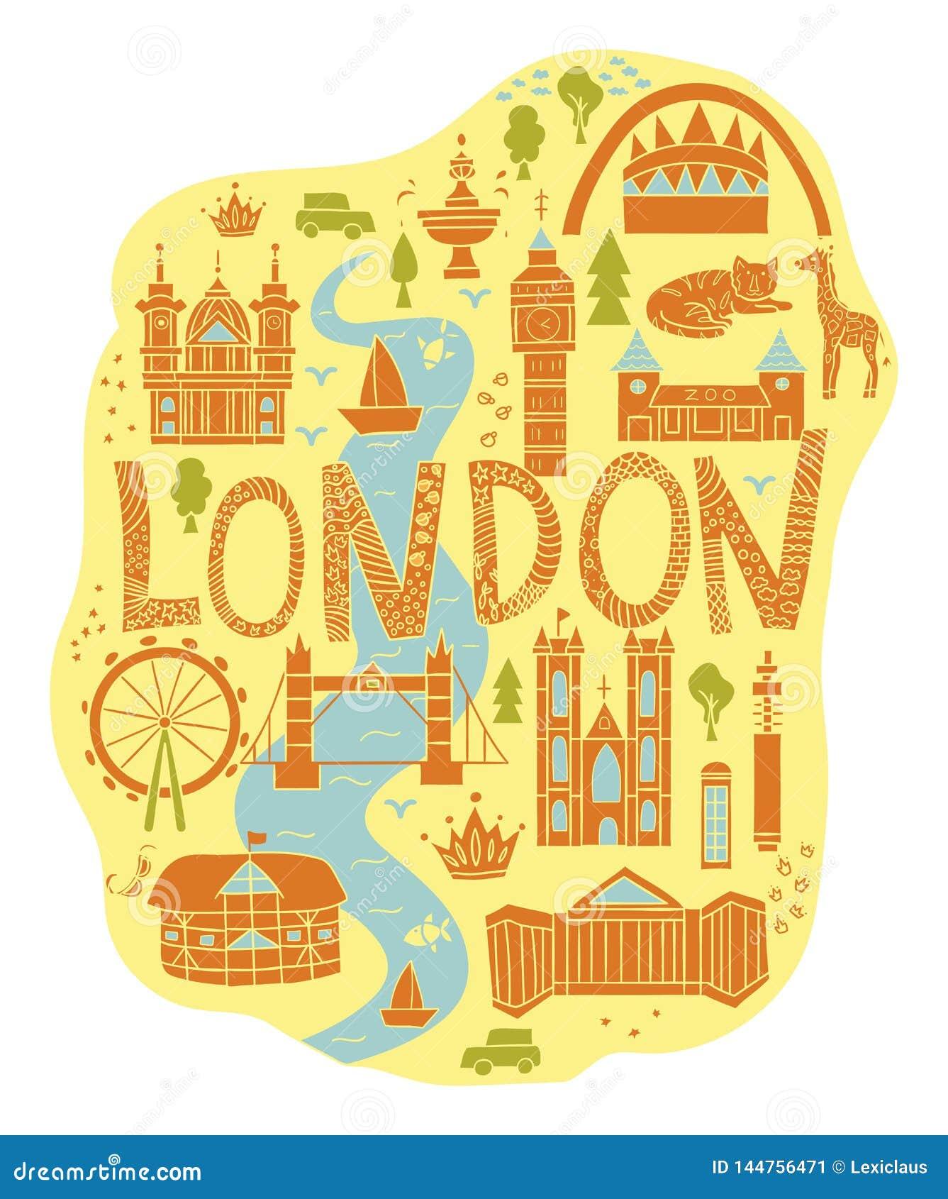 Utdragen översikt för hand av London i tecknad filmstil