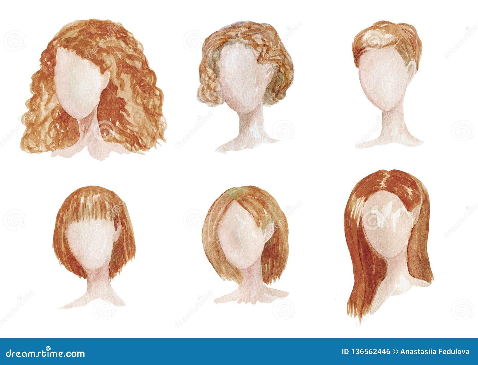 Utdragen uppsättning för vattenfärghand med olika typer av kvinnliga frisyrer för långt som är lockiga, chorthår Brun frisyrillus