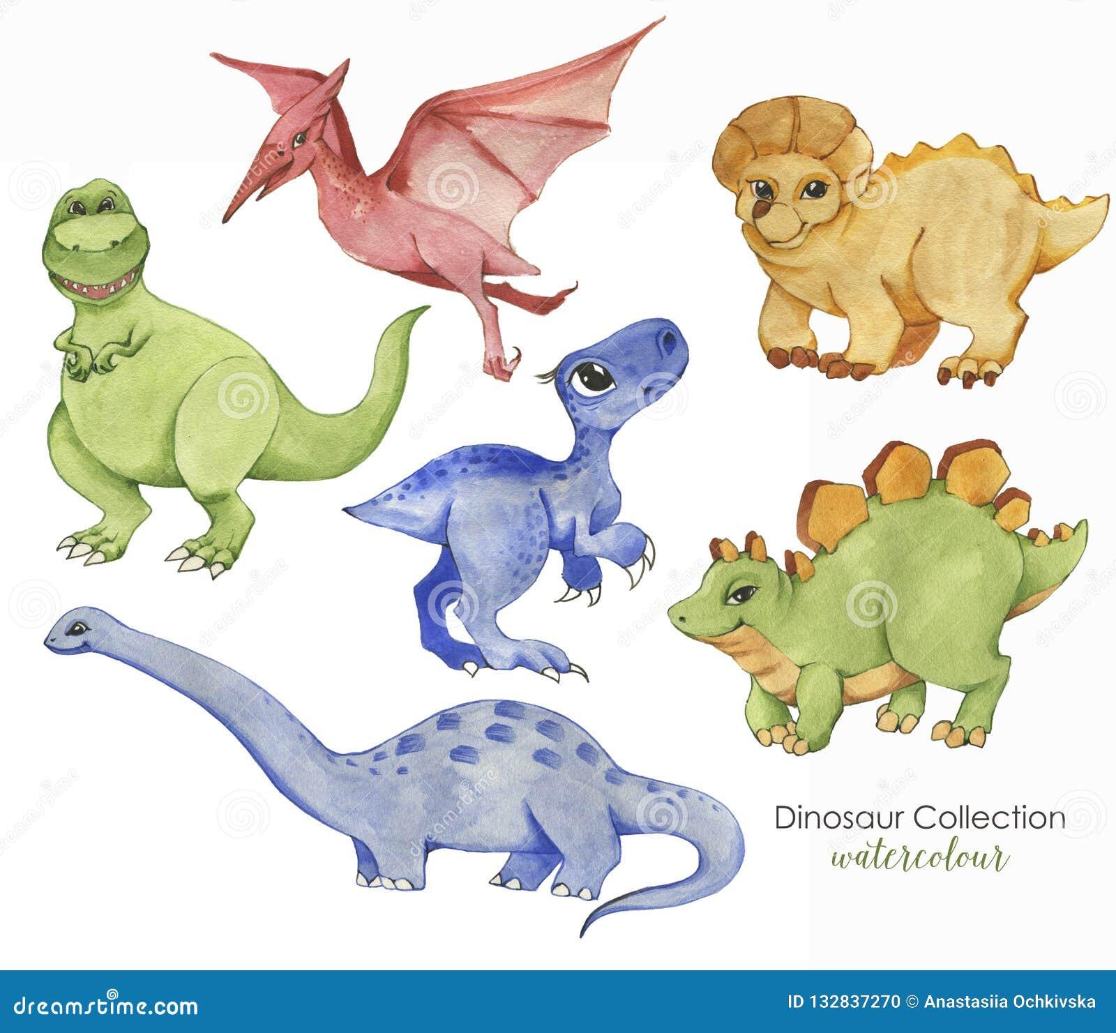 Utdragen vattenfärgillustration för hand av gulliga dinosaurier Historiska reptilar Samlingsdinosaurier - tecknad filmtecken
