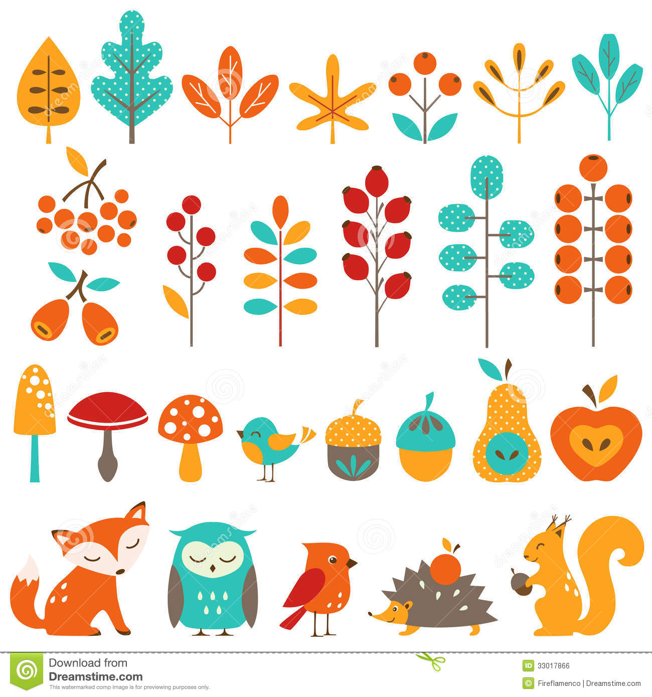 In Design Elements : Ð¡ute autumn design elements stock vector illustration