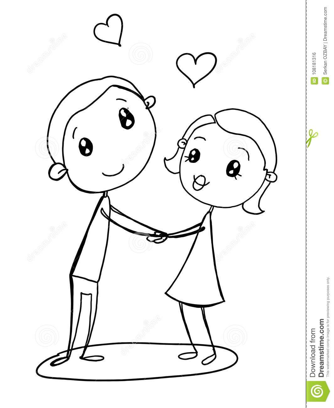 lesbian wedding coloring pages | Cute Couple Illustration Male Female Drawing Cartoon And ...