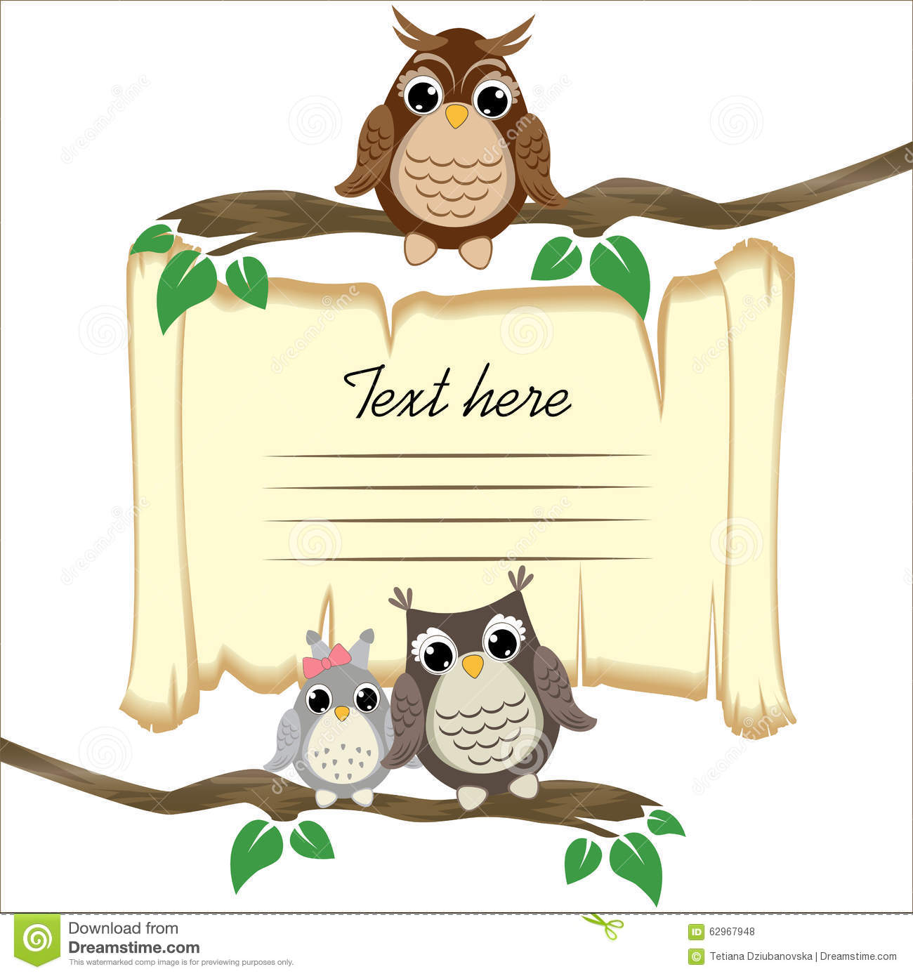 Ð ute owls on a branch on the old scroll background with space for
