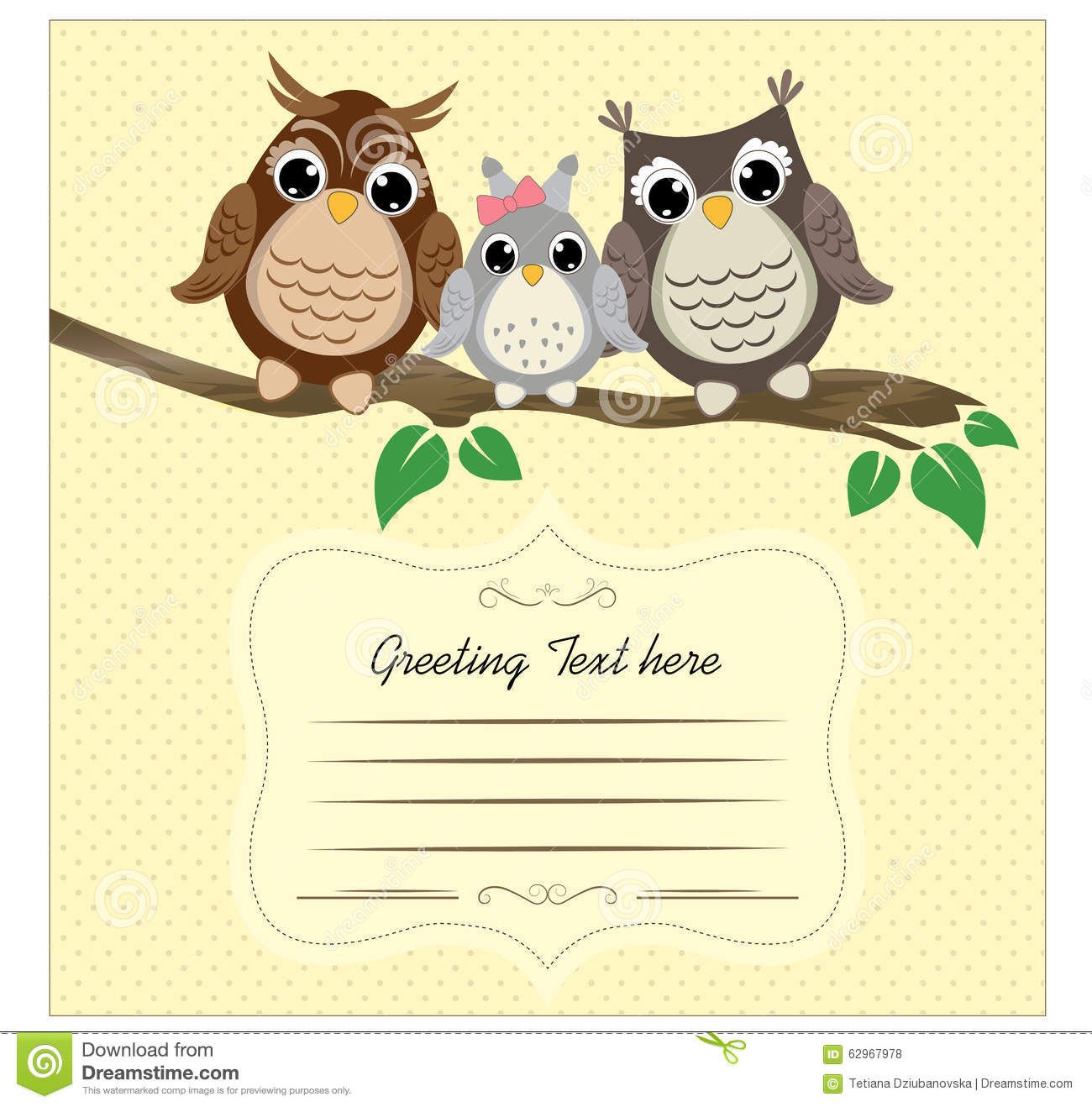 Clipart Book Cover Design : Сute owls on a tree branch with space for text stock