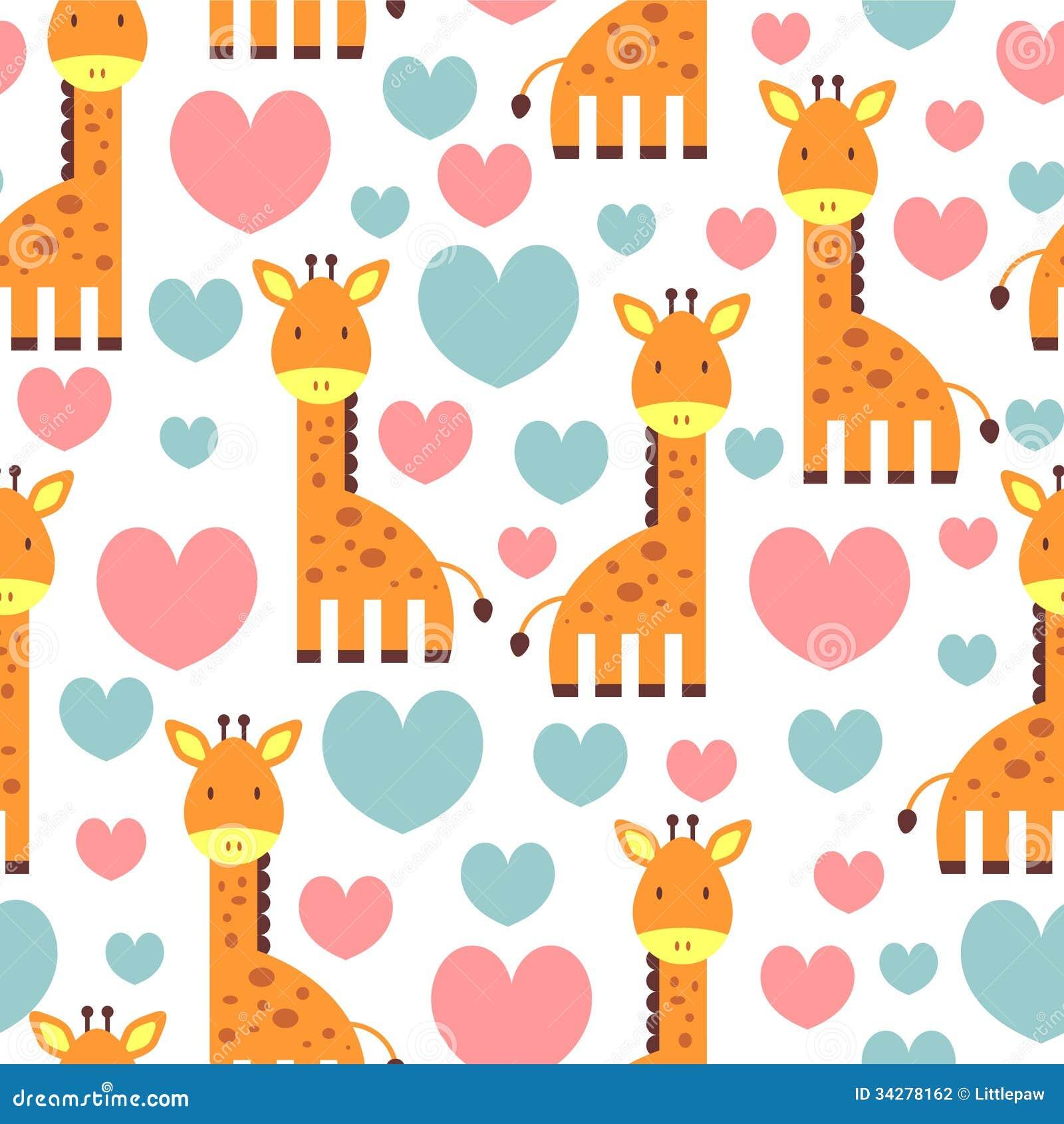 Сute Seamless Pattern With Giraffe Stock Photography