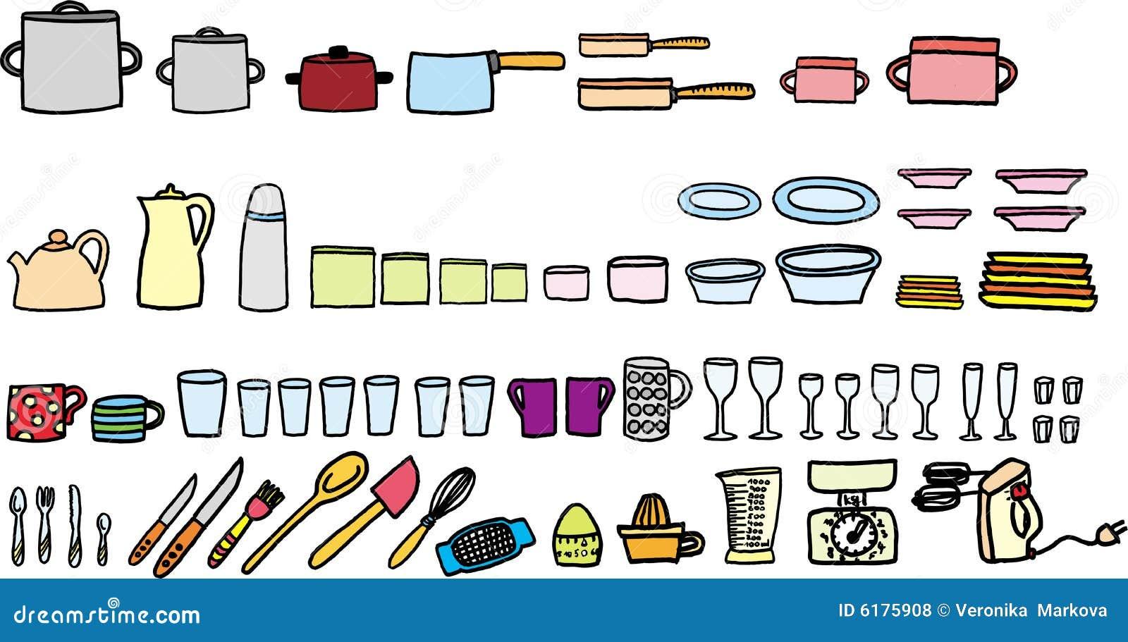 Utens Lios Da Cozinha Ilustra O Do Vetor Ilustra O De Vidros  ~ Desenho Utensílios De Cozinha