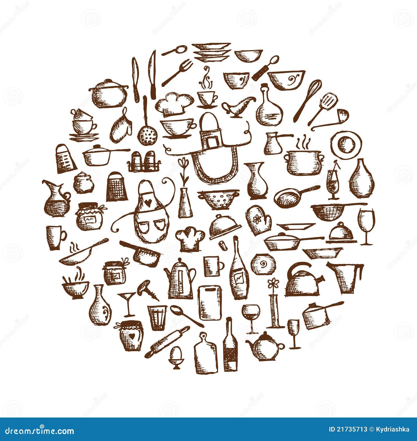 Utens Lios Da Cozinha Desenho De Esbo O Ilustra O Do Vetor  ~ Desenho Utensílios De Cozinha