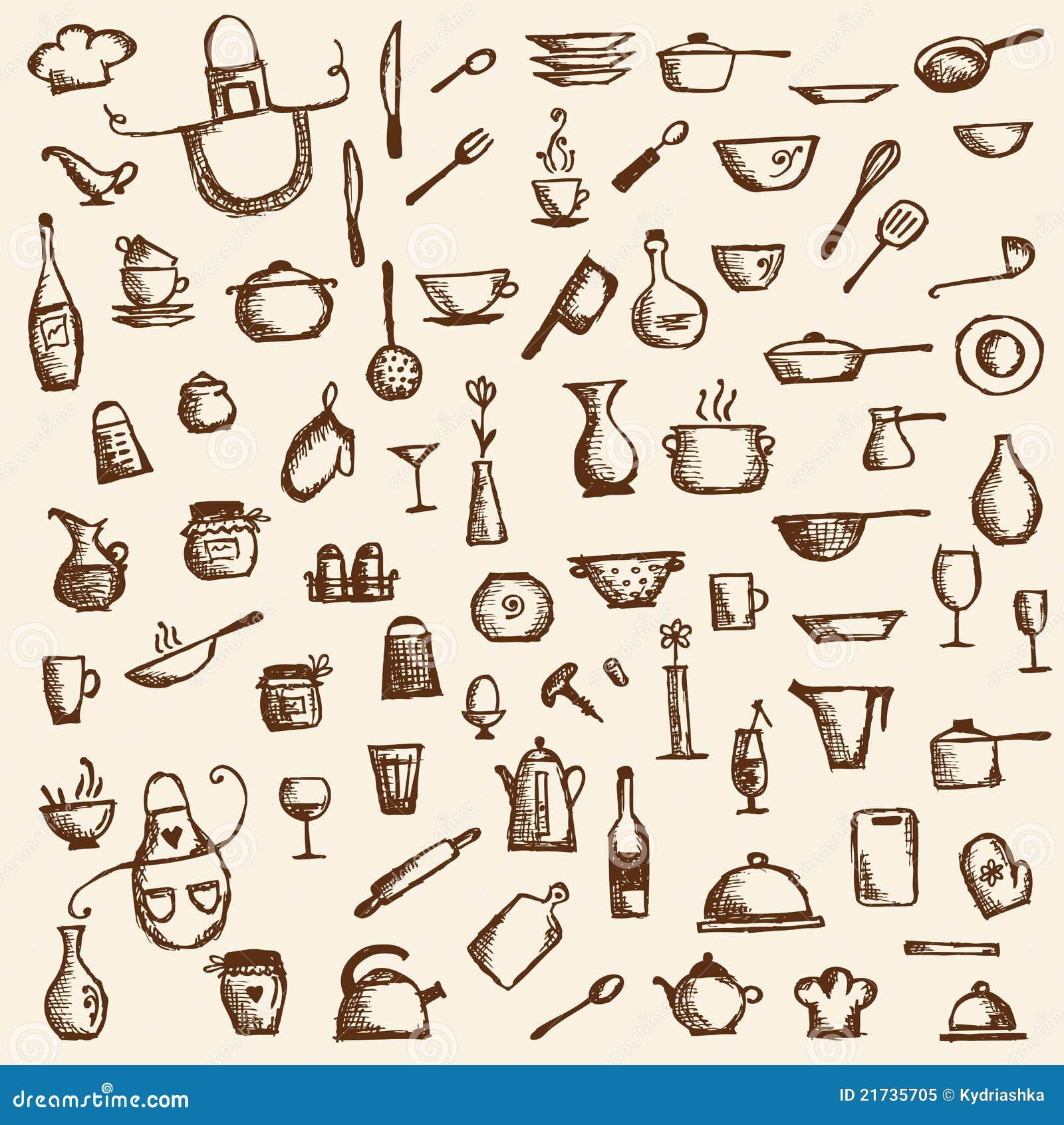 Utensílios Da Cozinha Desenho De Esboço Para Seu Projeto Foto de  #4D1E04 1300 1390
