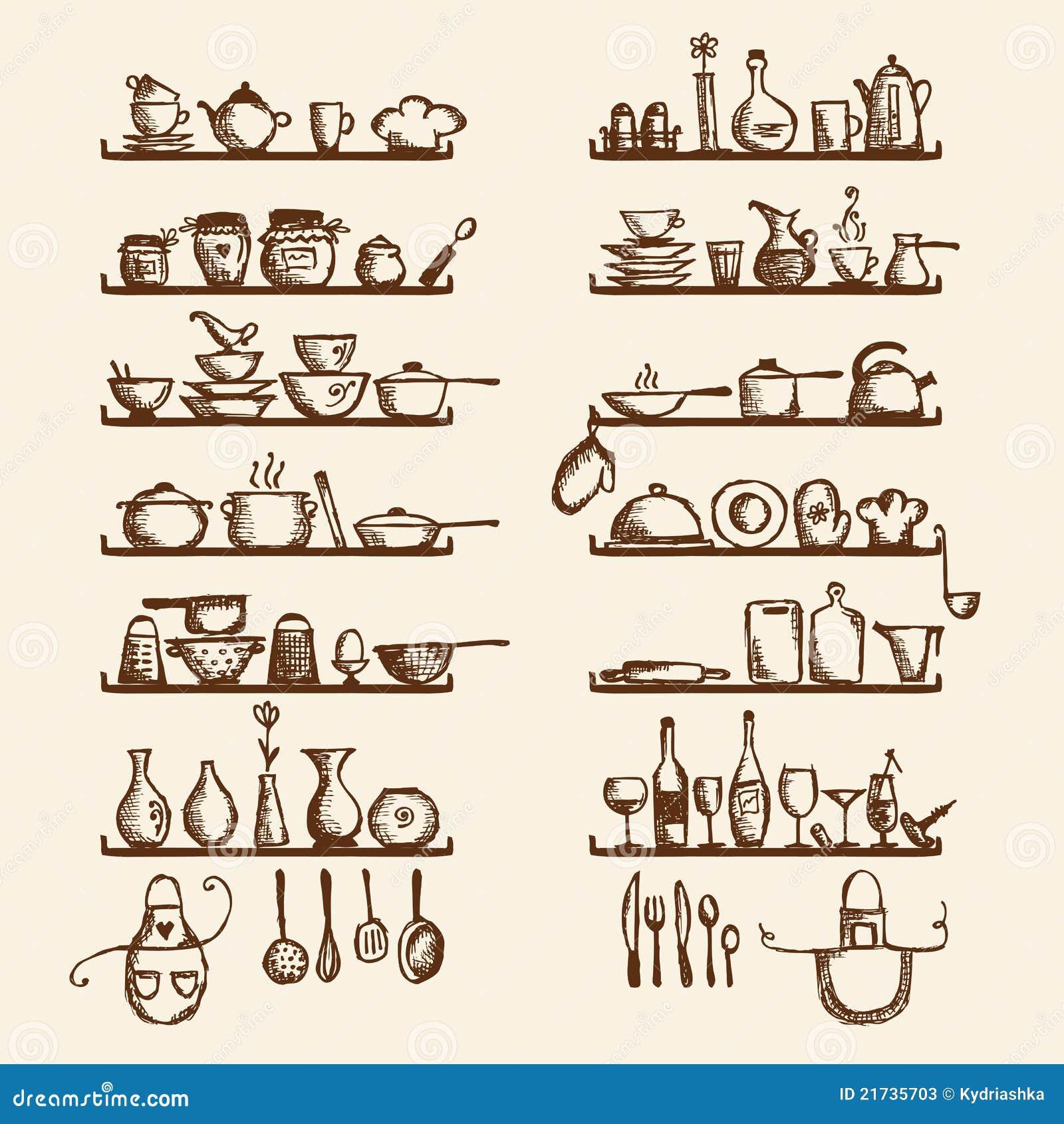 Utensílios da cozinha nas prateleiras desenho de esboço para seu  #4C1E04 1300 1390