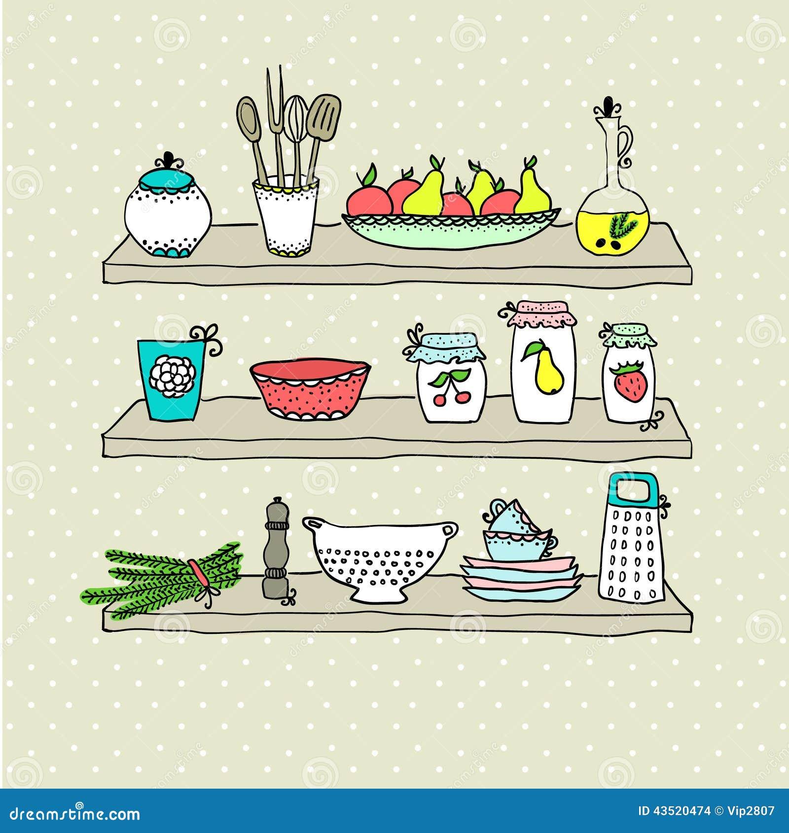 Utens Lios Da Cozinha Em Prateleiras Desenho De Esbo O Ilustra O  ~ Desenho Utensílios De Cozinha