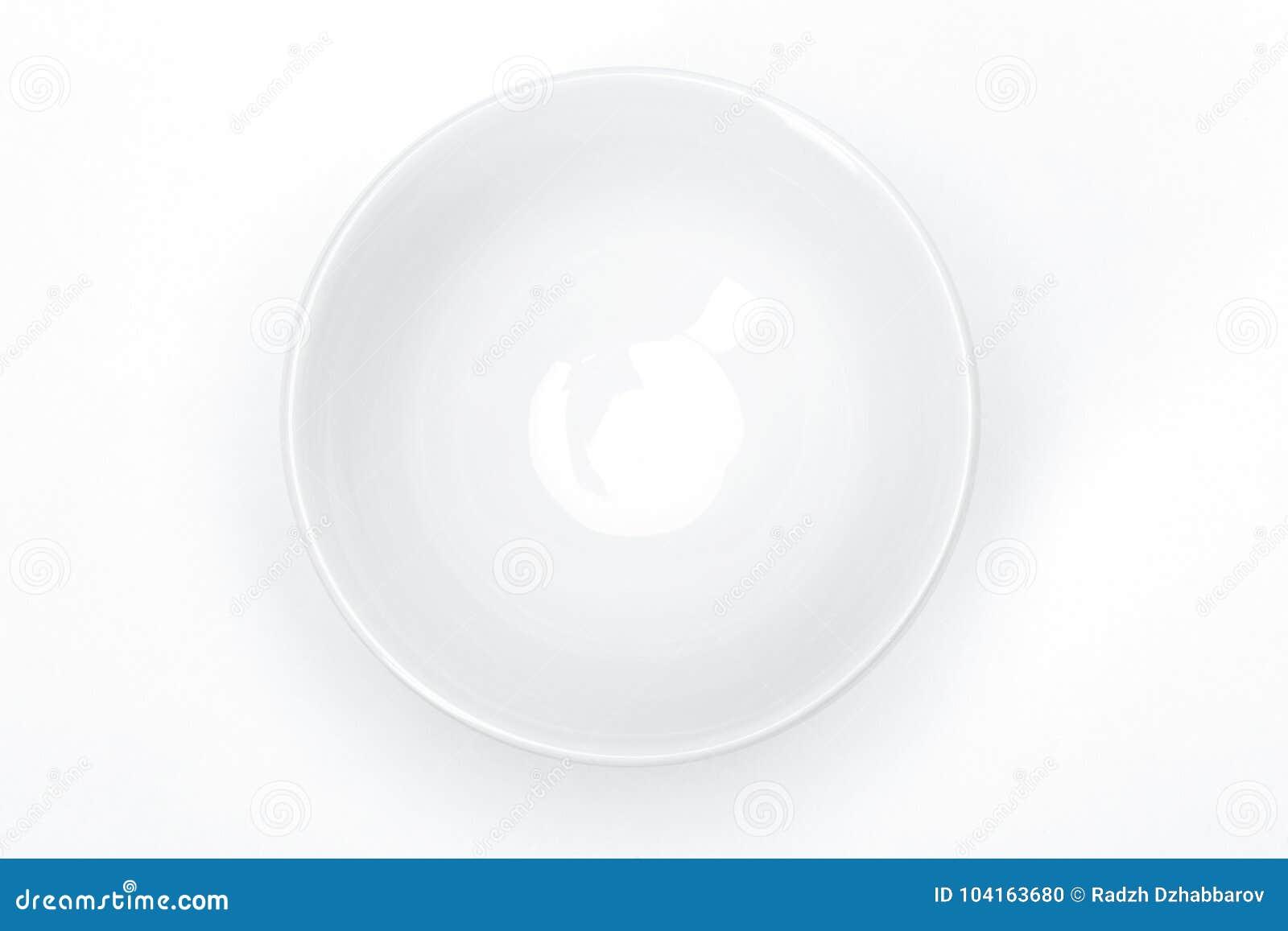 Utensílios de mesa vazios para seu projeto, bacia cerâmica branca da porcelana do molde para o fundo do branco da sopa