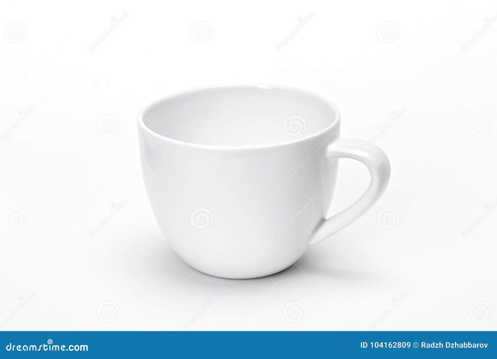 Utensílios de mesa vazios para seu projeto, fundo cerâmico branco da porcelana do molde do branco da caneca do chá