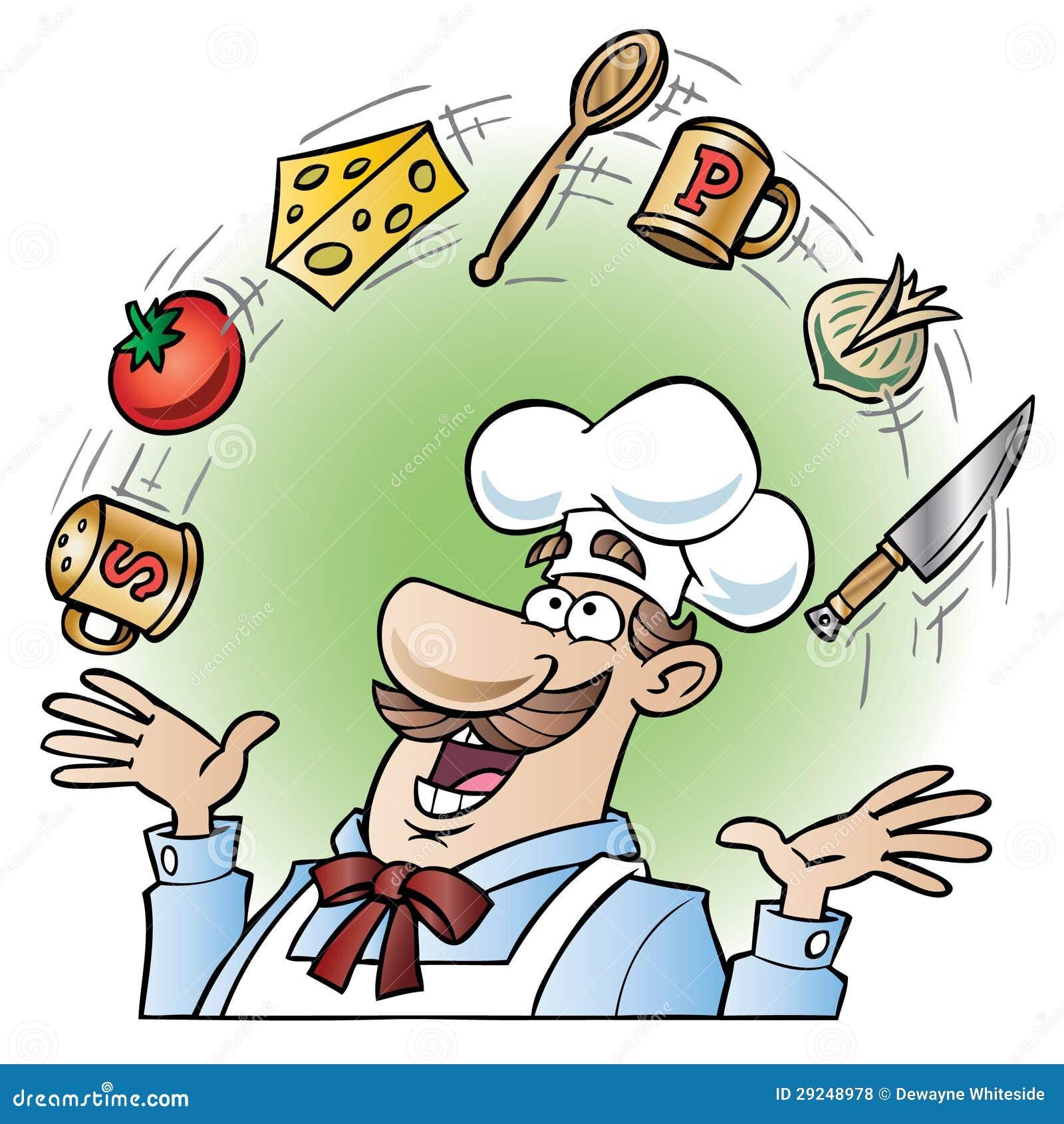 Download Utensílios E Alimentos De Mnanipulação Da Cozinha Do Cozinheiro Chefe Ilustração do Vetor - Ilustração de avental, artes: 29248978