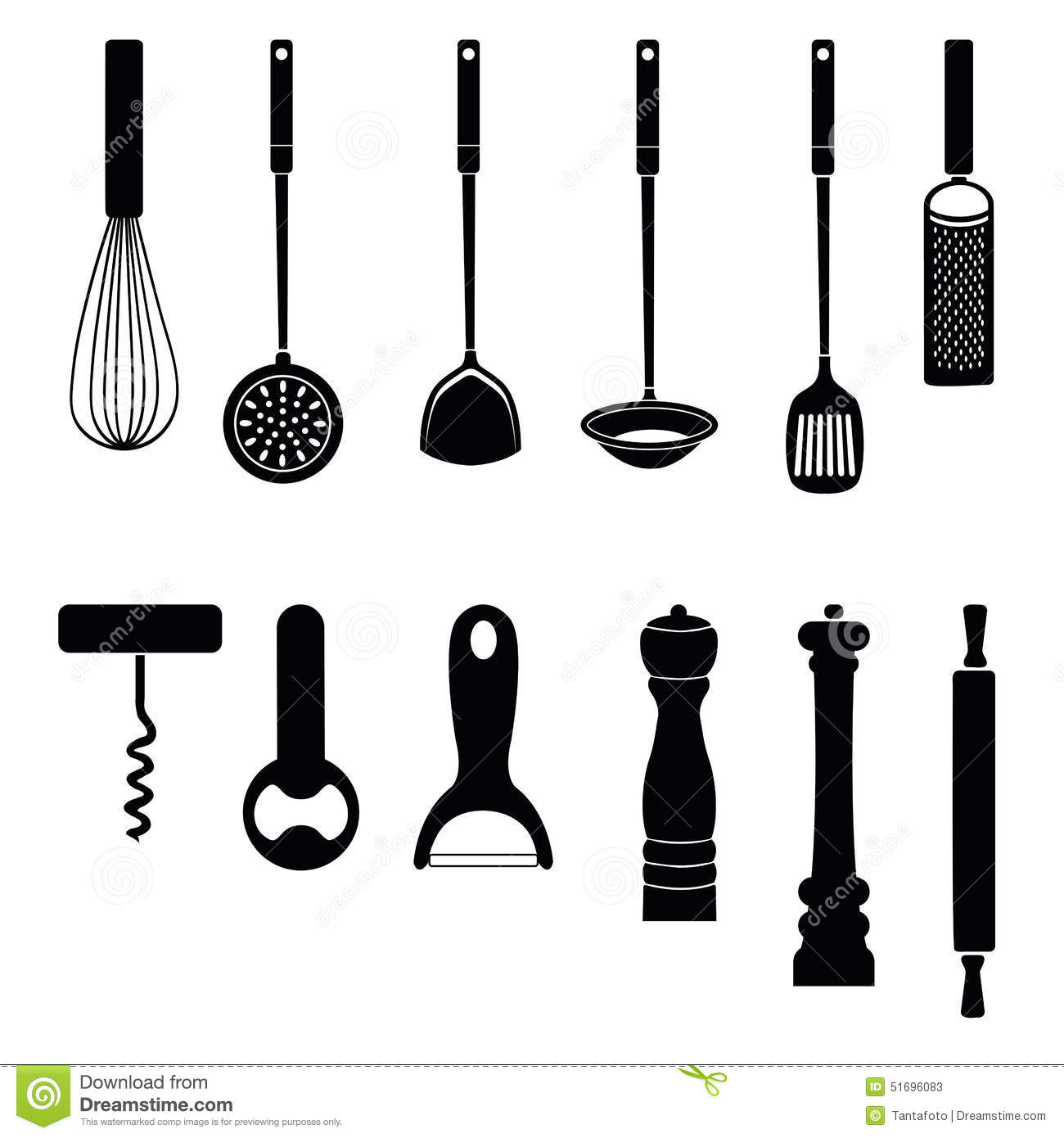 Utensil Kitchen Tool Silhouette Collection Stock Vector Image 51696083