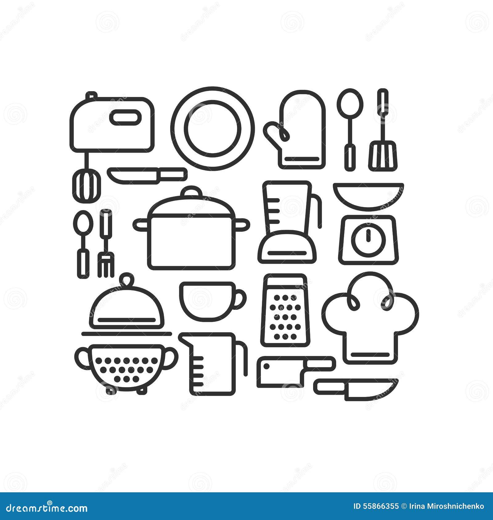Utensili da cucina illustrazione di stock illustrazione di isolato 55866355 - Strumenti da cucina ...