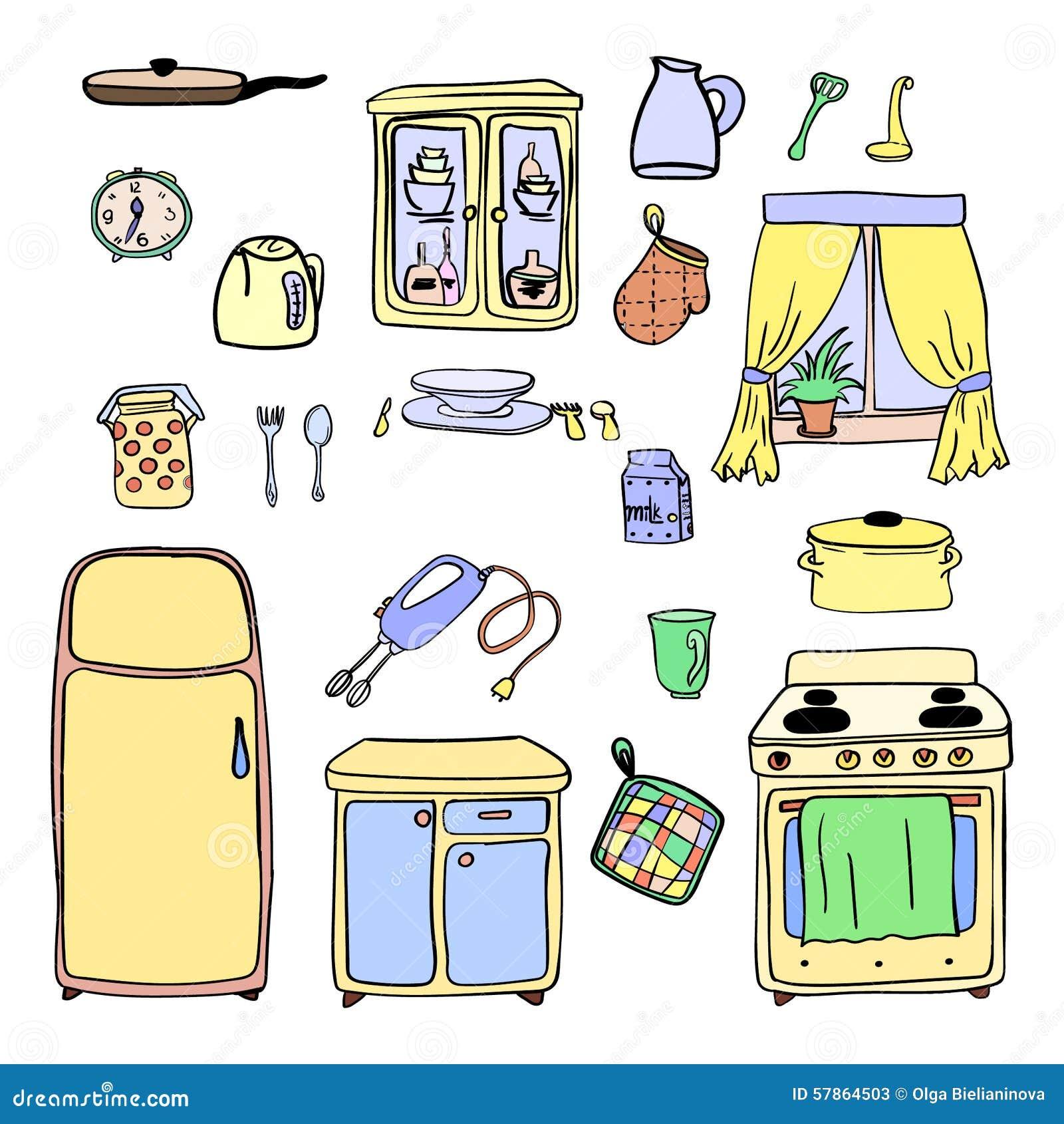 utensili della cucina ed icone disegnate a mano delle pentole messe cucinando gli strumenti e