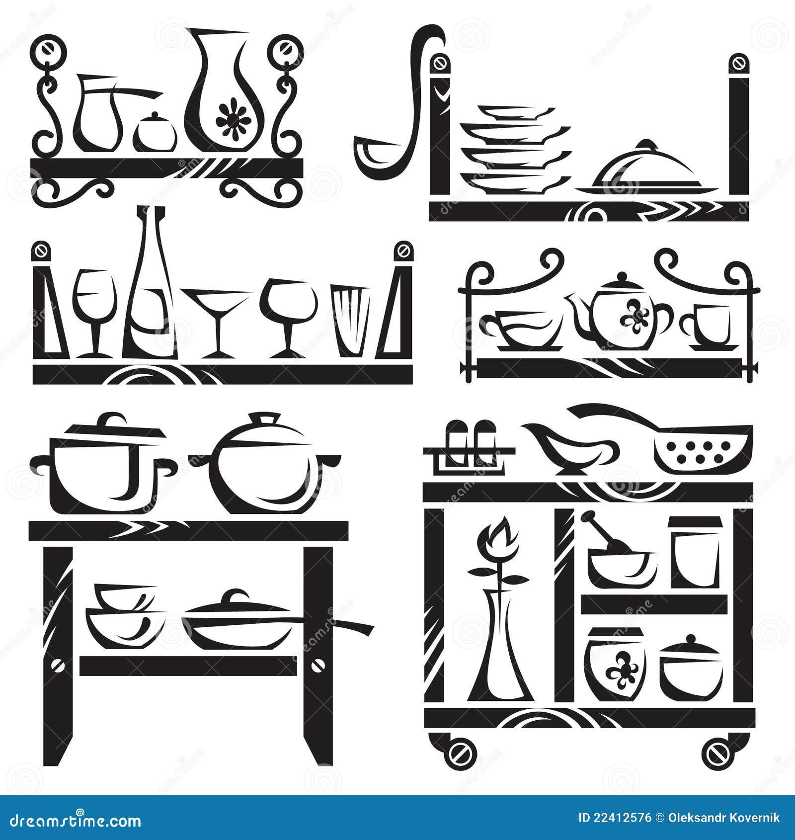 Utensili Della Cucina Sulle Mensole Immagine Stock Libera Da Diritti  #84A526 1300 1390 Utensili Da Cucina Disegni