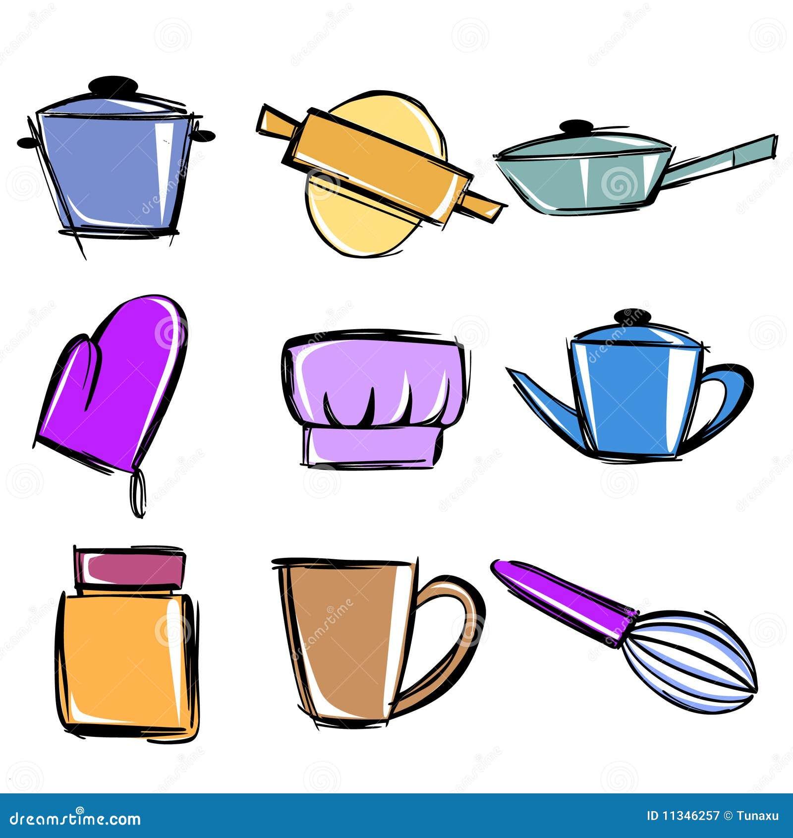 Utensilios de cocina ilustraci n del vector ilustraci n for Utensilios de cocina para zurdos