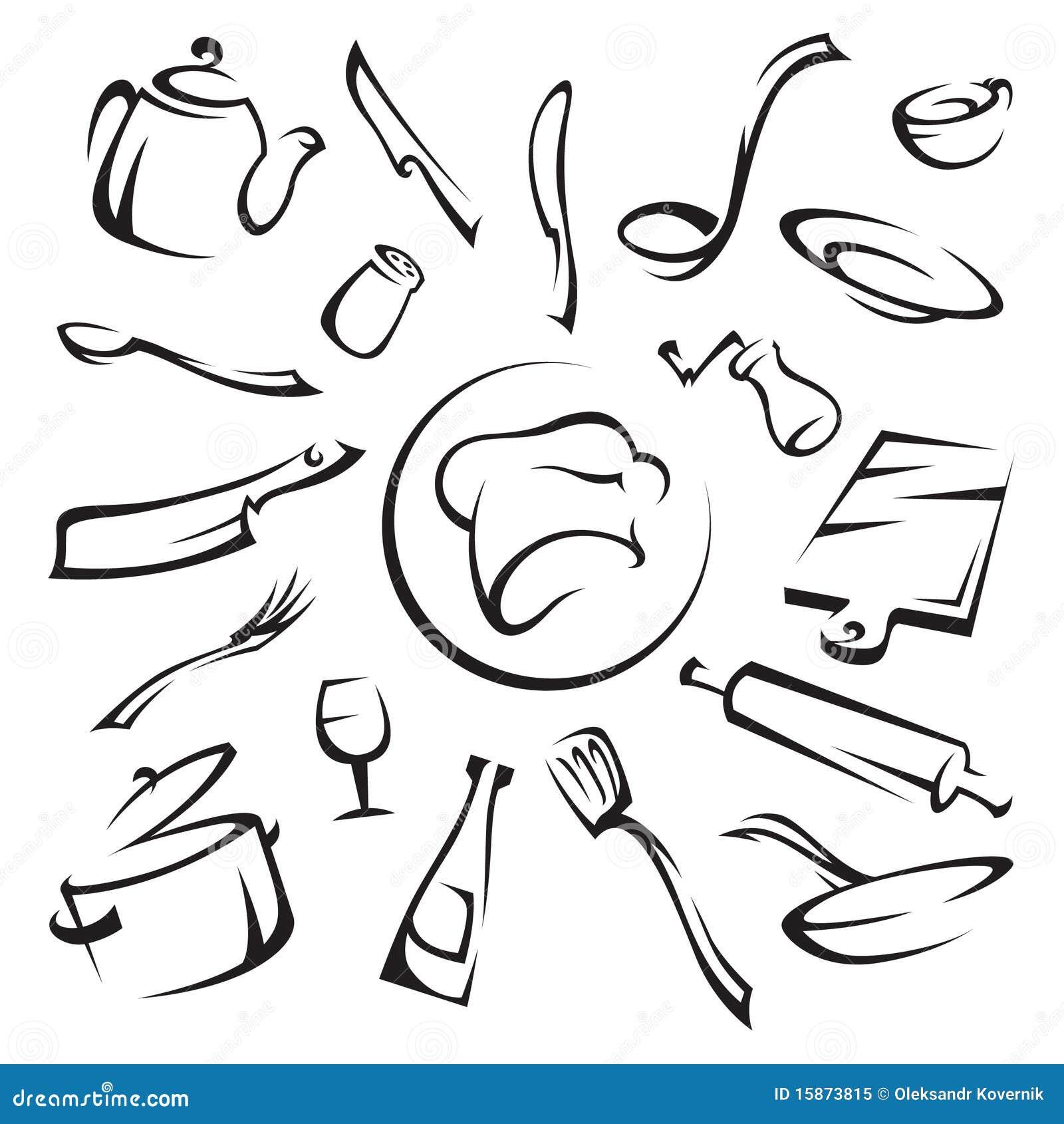 Utensilios de cocina ilustraci n del vector ilustraci n for Elementos de cocina para chef