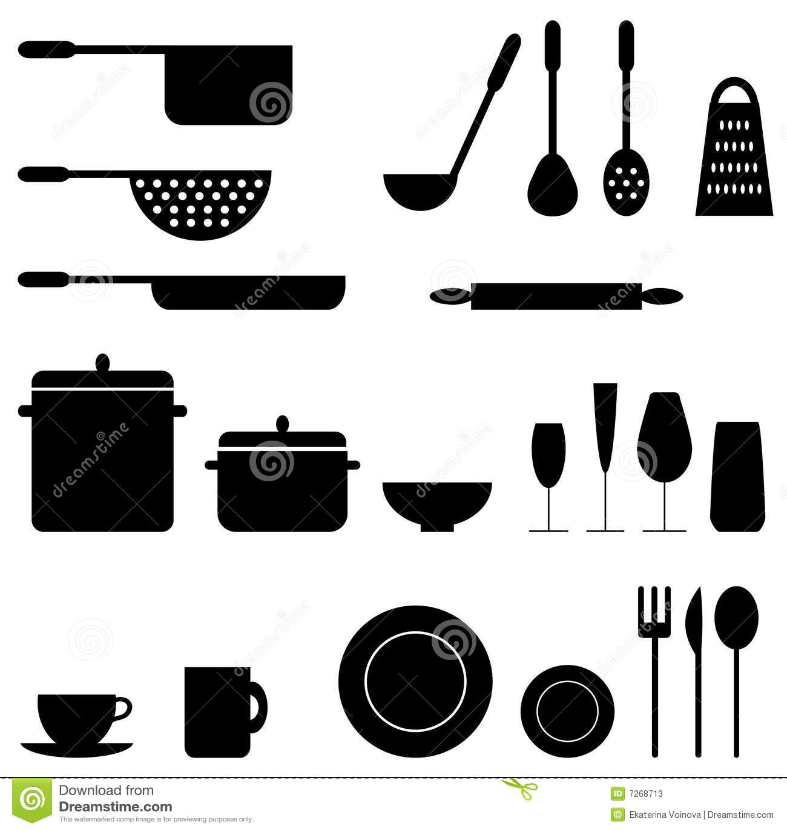 Utensilios de cocina ilustraci n del vector imagen de for Utensilios medidores cocina