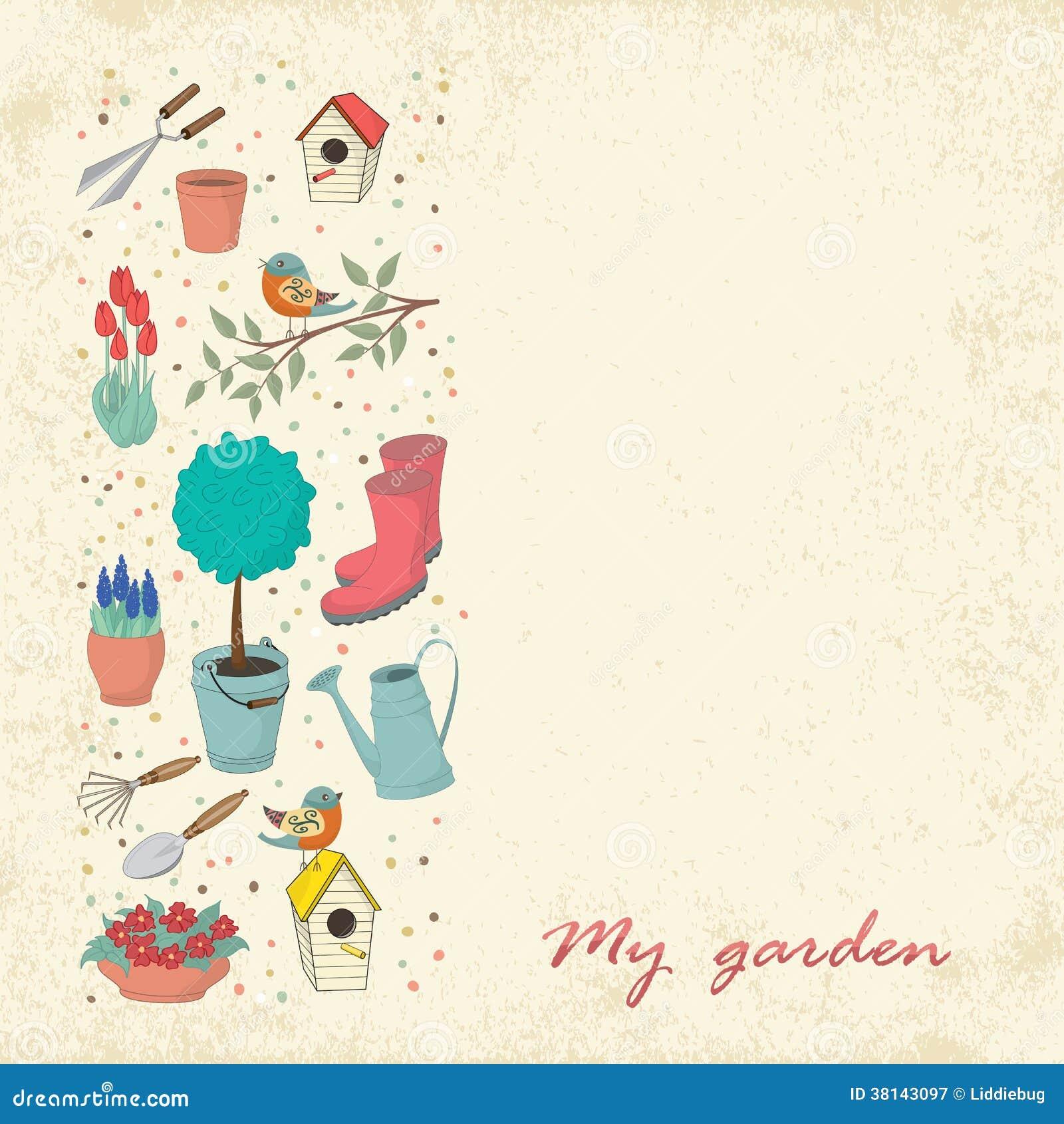 Utensilios de jardinería ilustración del vector. Ilustración de ...