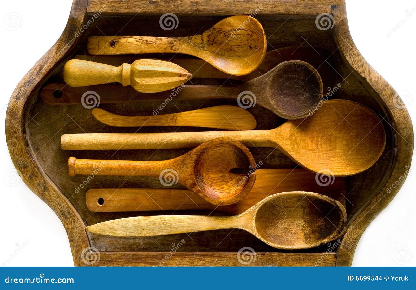 Utensilios de madera de la cocina imagenes de archivo for Utensilios de cocina viejos