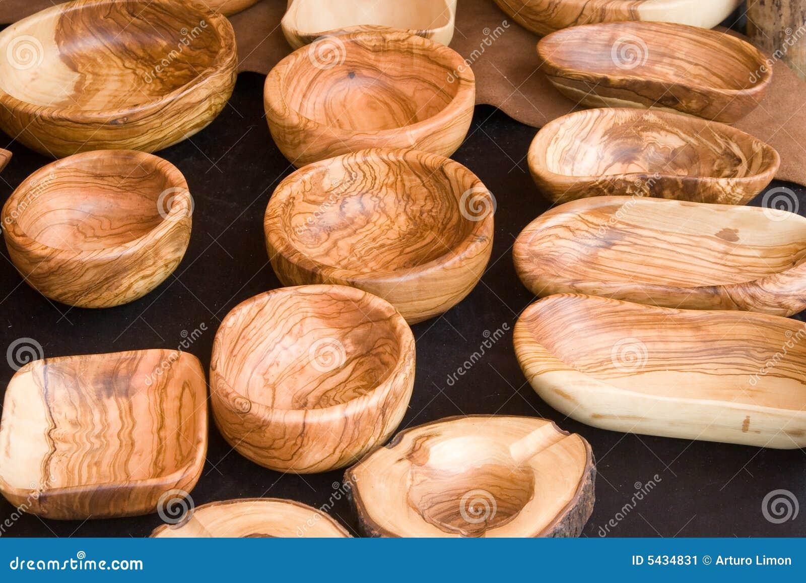 utensilios hechos a mano de madera imagen de archivo