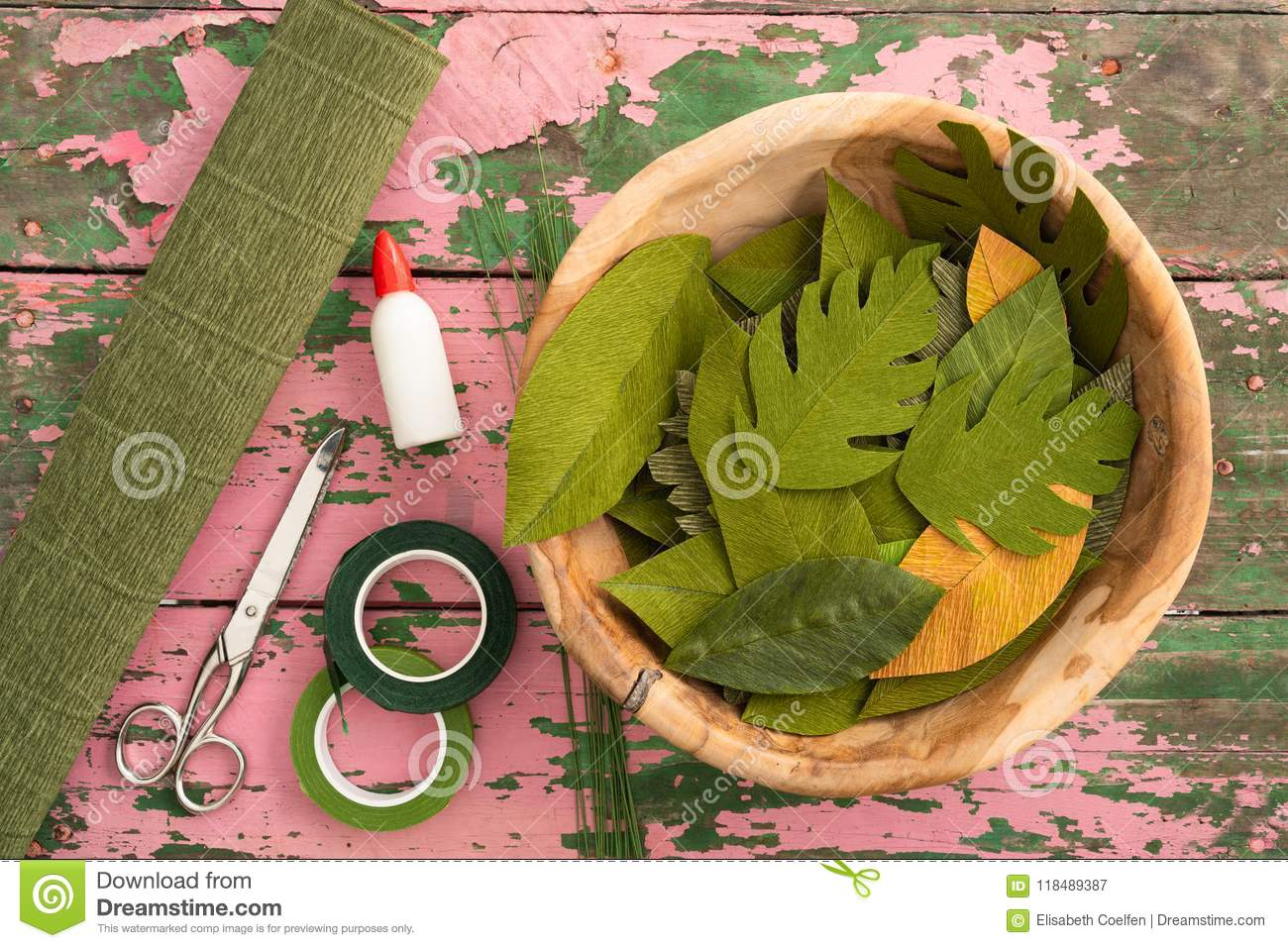 Utensils For Making Paper Flower Leaves Stock Image Image Of Paint