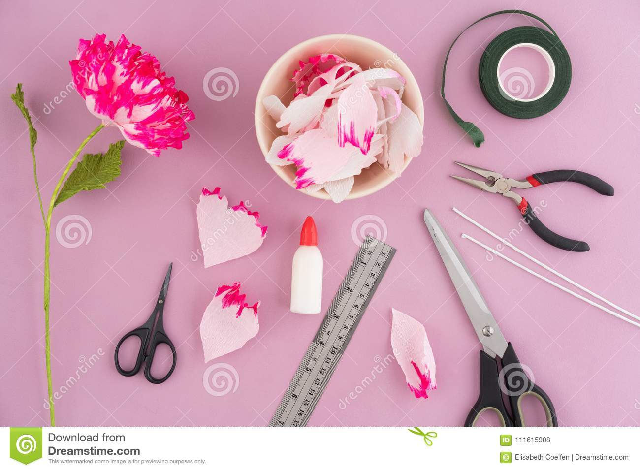 Making Paper Flowers Stock Photo Image Of Pliers Peony 111615908