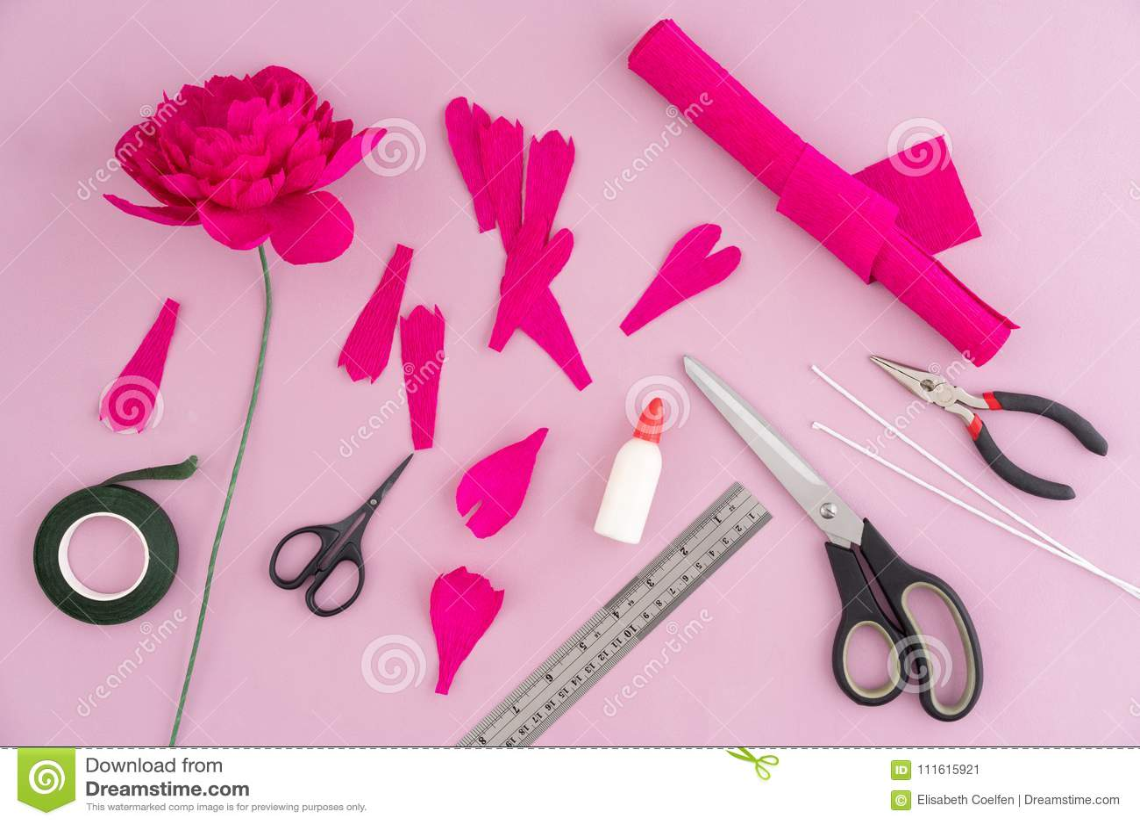 Making Paper Flowers Stock Image Image Of Utensils 111615921