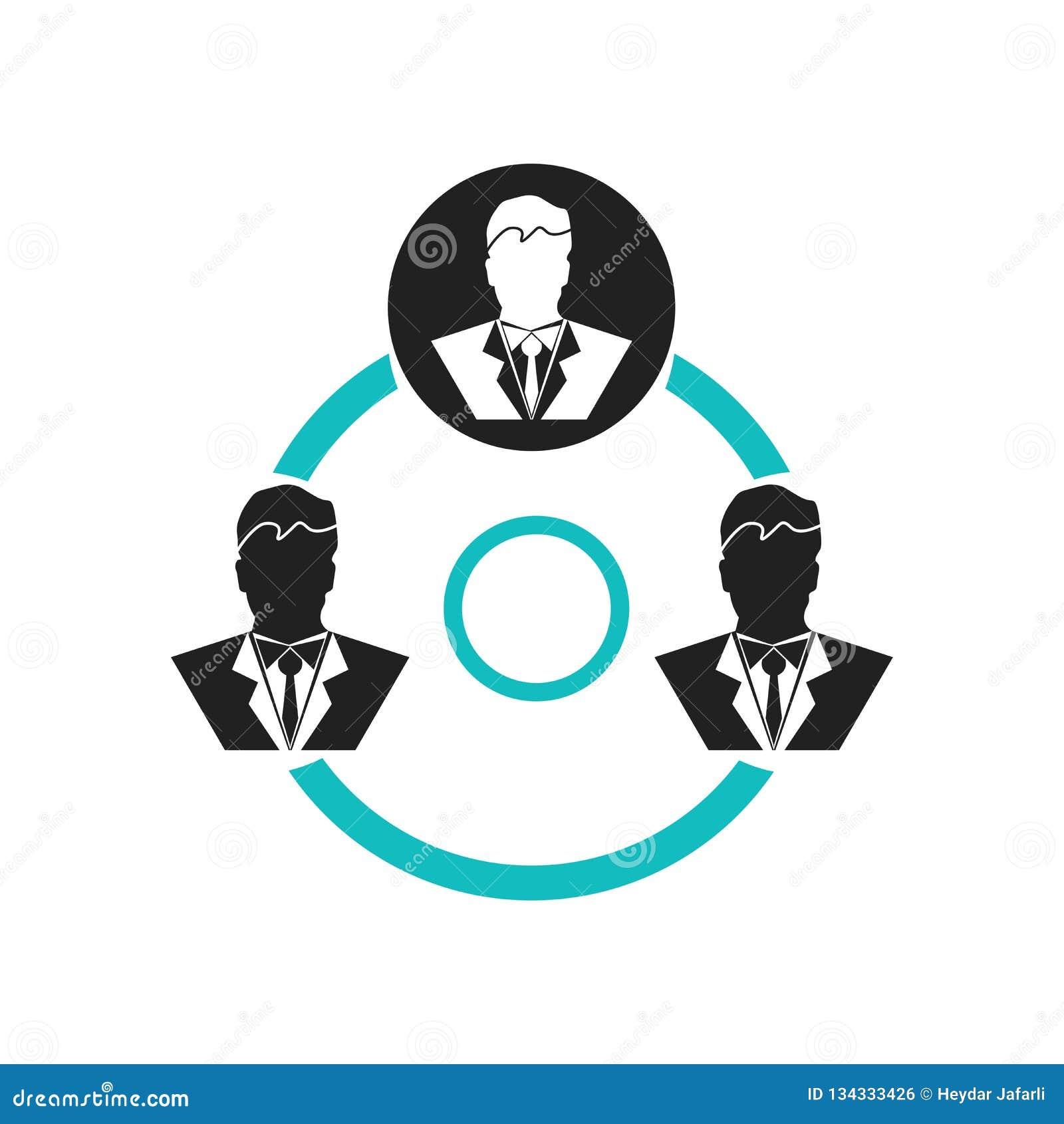 Utenti collegati nel segno e nel simbolo di vettore dell icona del diagramma di flusso isolati su fondo bianco, utenti collegati