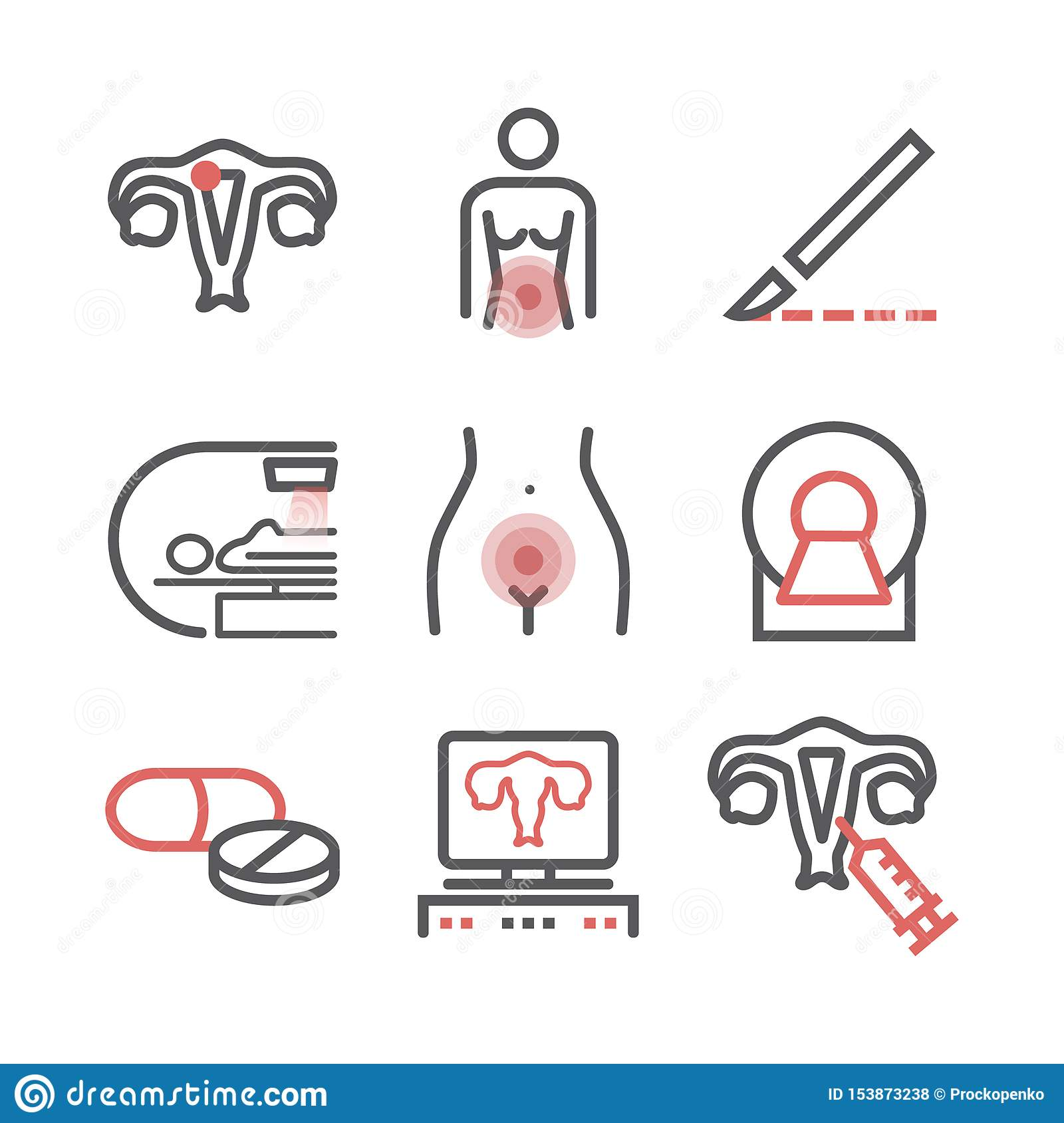 Uterine cancer. Symptoms, Causes, Treatment. Line icons set. Vector signs for web graphics.