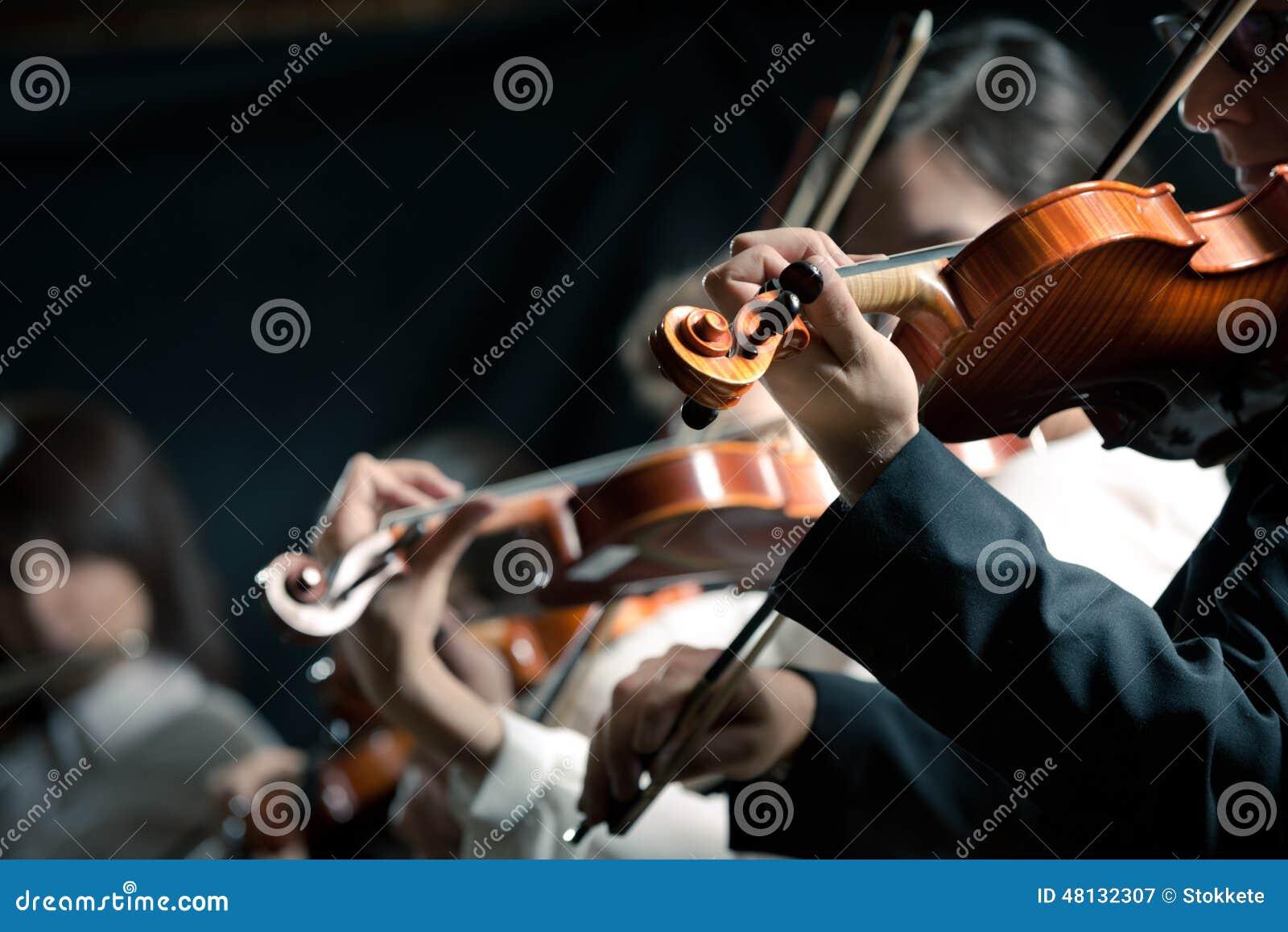 Utföra för violinister för symfoniorkester