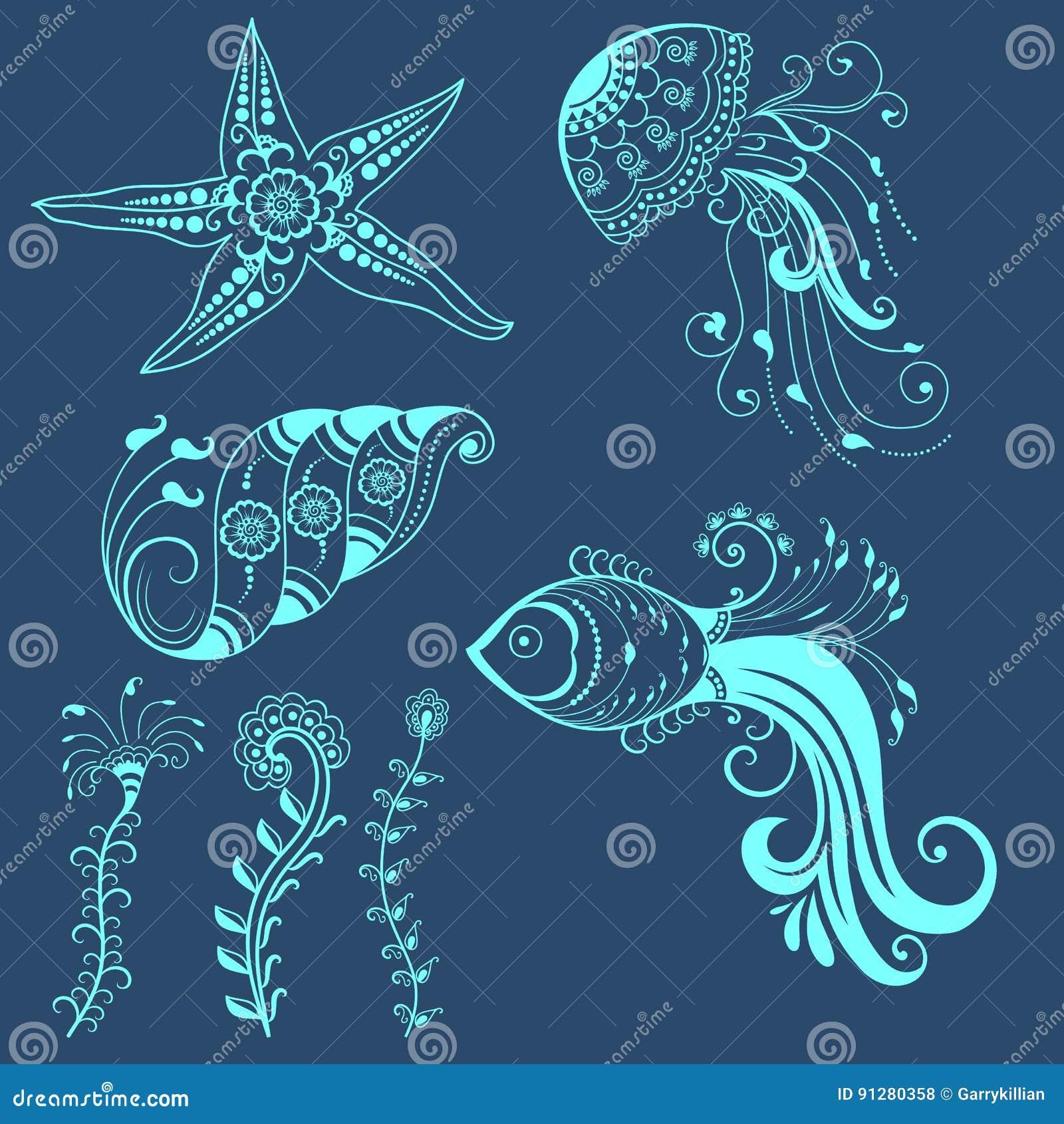 Utformar abstrakta marin- varelser för vektor i indisk mehndi Blom- vektorillustration för abstrakt henna vektor för bild för des