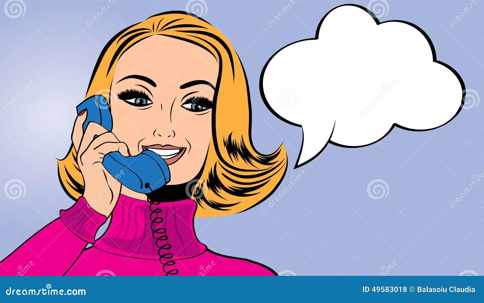 Utformar den gulliga retro kvinnan för popkonst i komiker samtal på telefonen