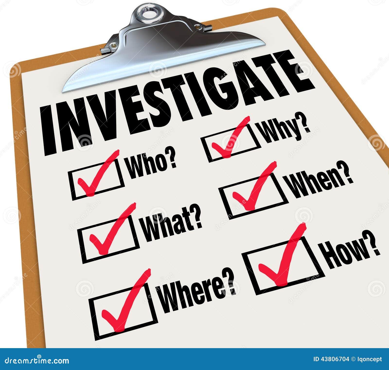 Utforska för frågekontrollen för grundläggande fakta utredning för listan