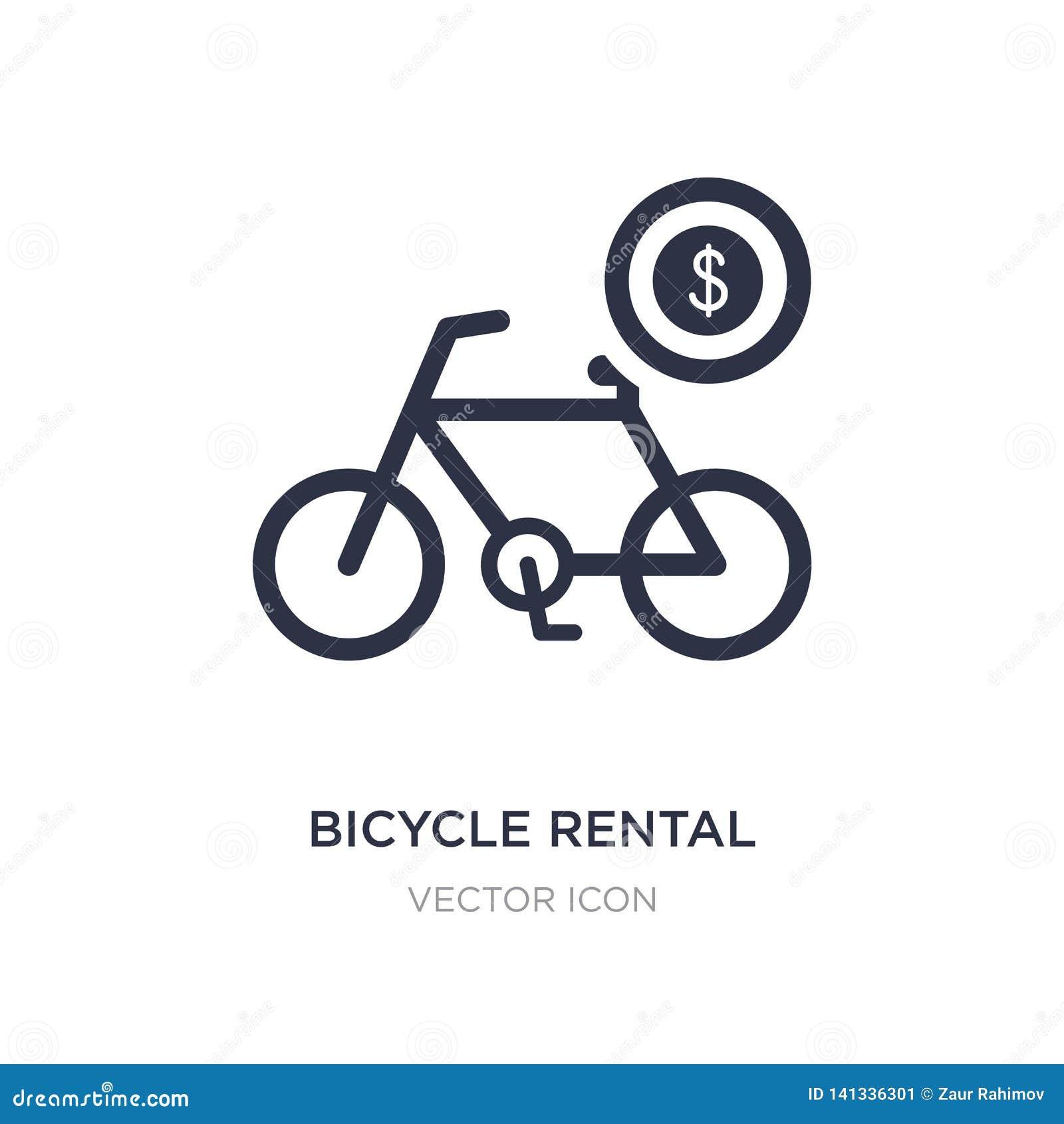 Uthyrnings- symbol för cykel på vit bakgrund Enkel beståndsdelillustration från transportbegrepp