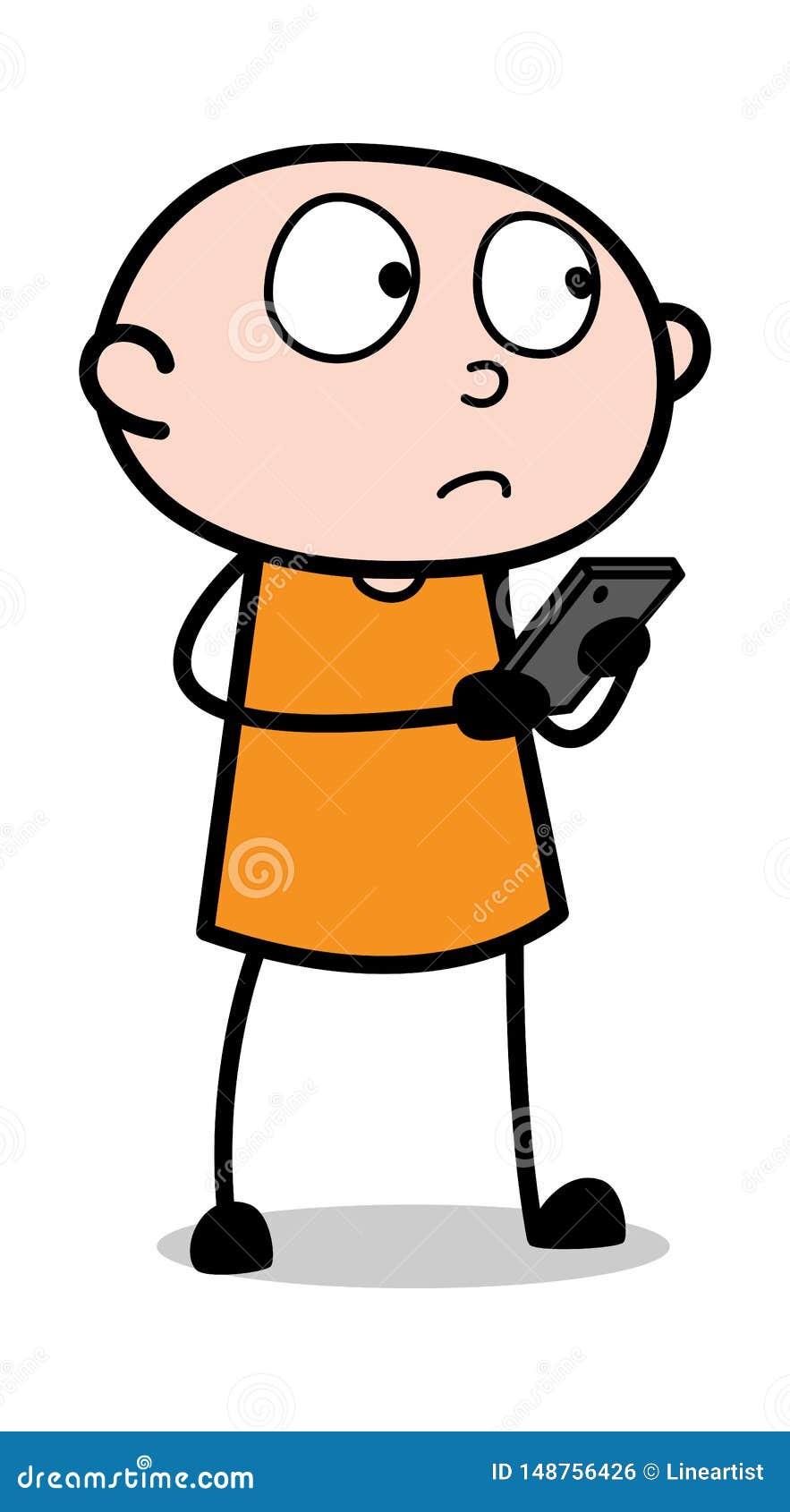 Utilisateur de Smartphone - voleur Guy Vector Illustration criminel de bande dessin?e