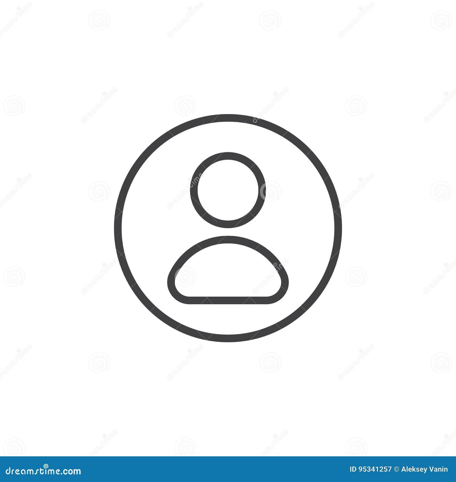 Utilisateur, ligne circulaire icône de compte Signe simple rond